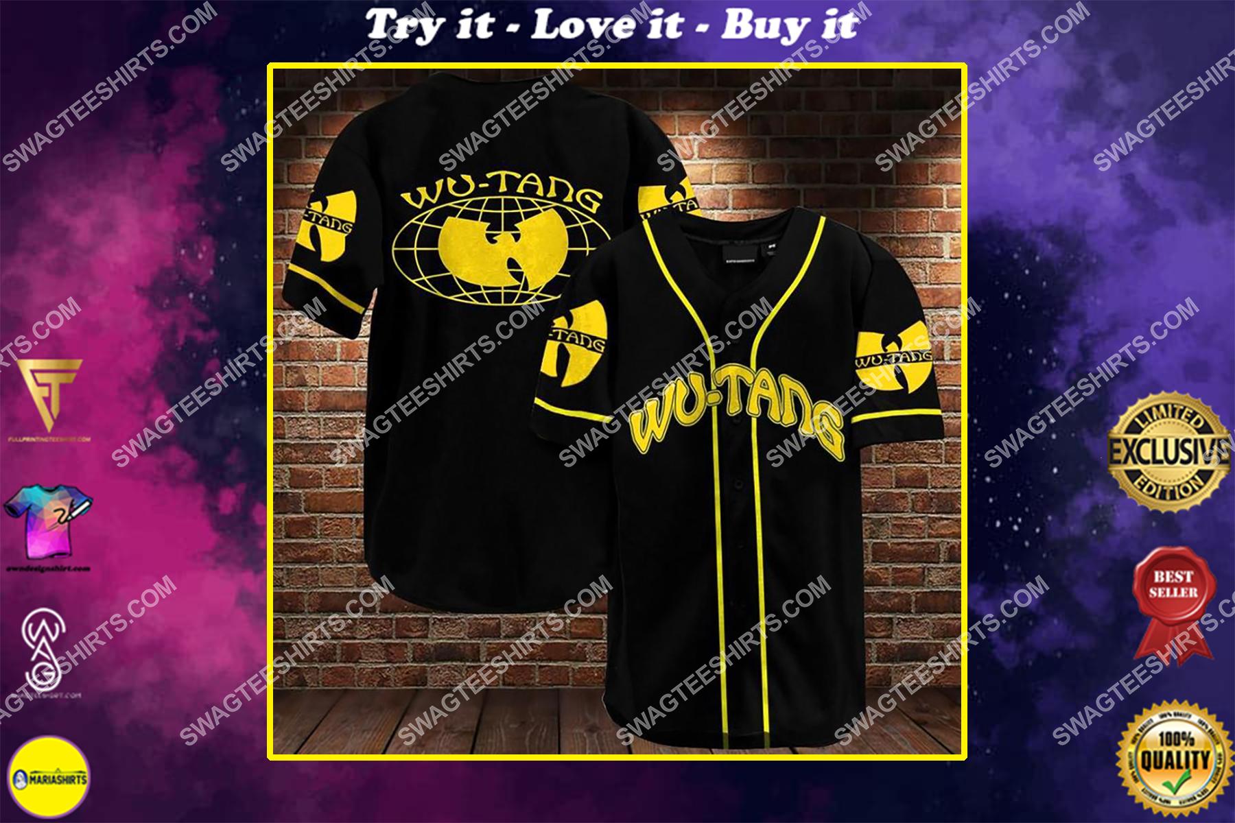 wu-tang clan band all over printed baseball shirt