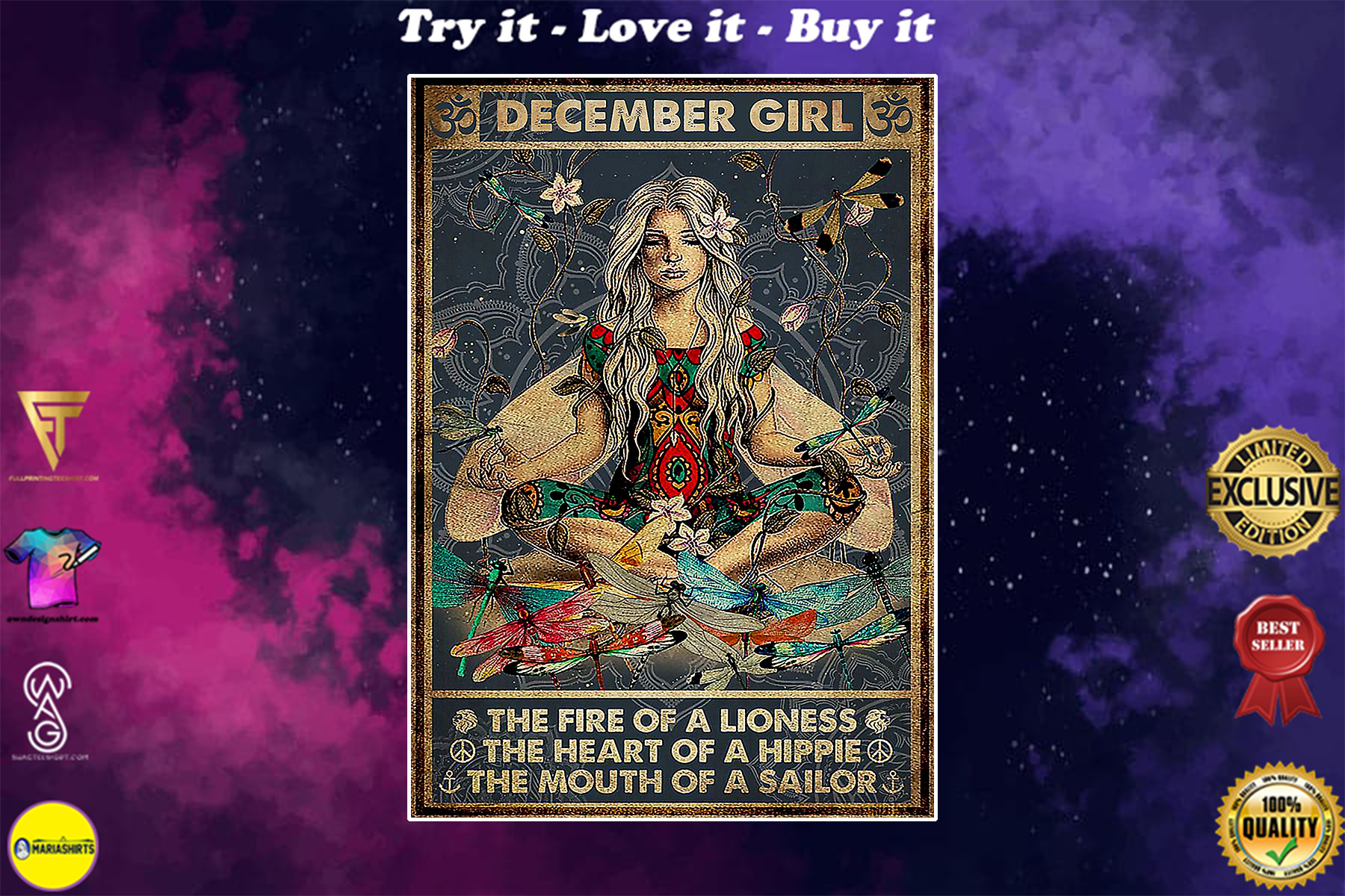yoga december girl the fire of a lioness the heart of hippie poster poster