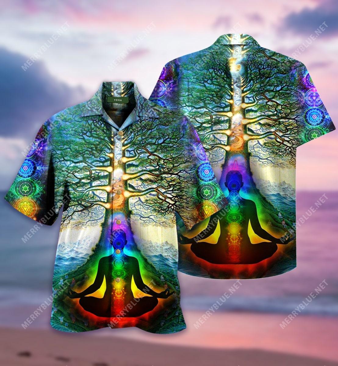 yoga tree of life all over printed hawaiian shirt 3