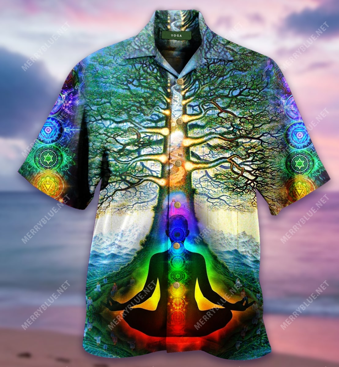 yoga tree of life all over printed hawaiian shirt 4