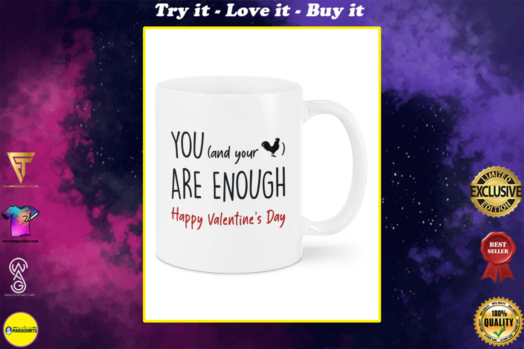 you and your cock are enough happy valentine's day mug