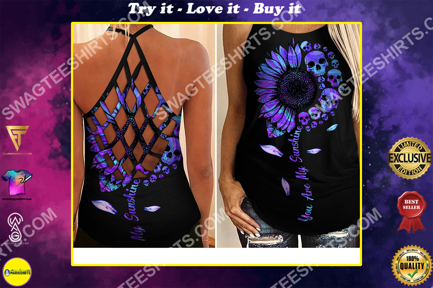 you are my sunshine all over printed strappy back tank top