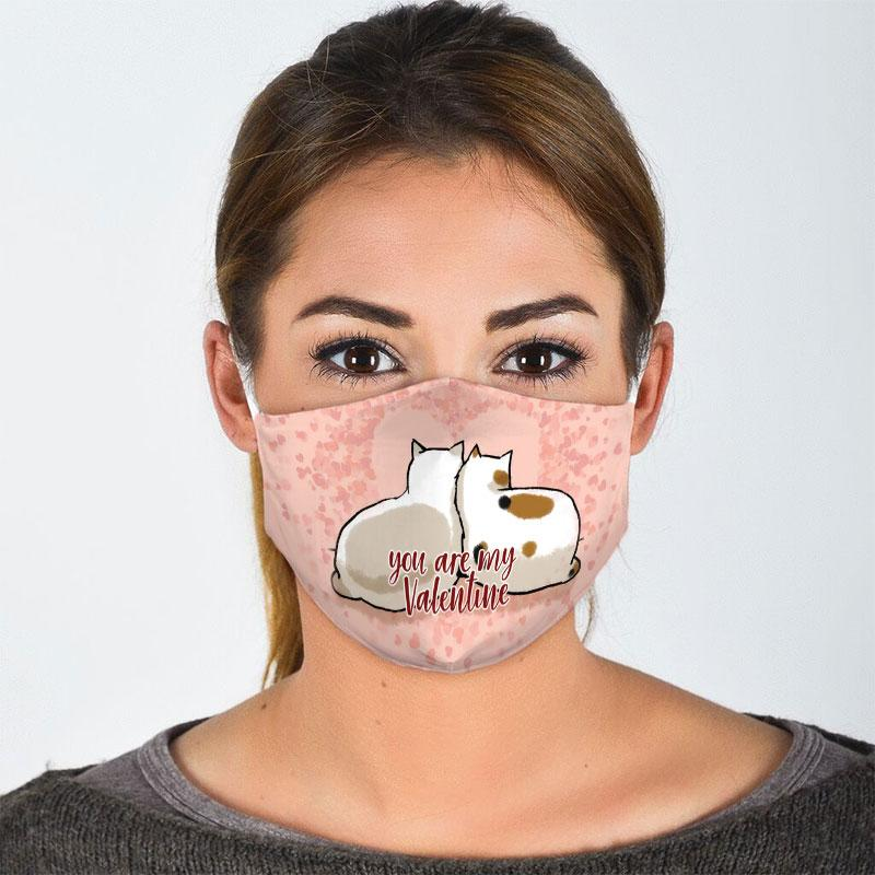 you are my valentine couple cat all over print face mask 2