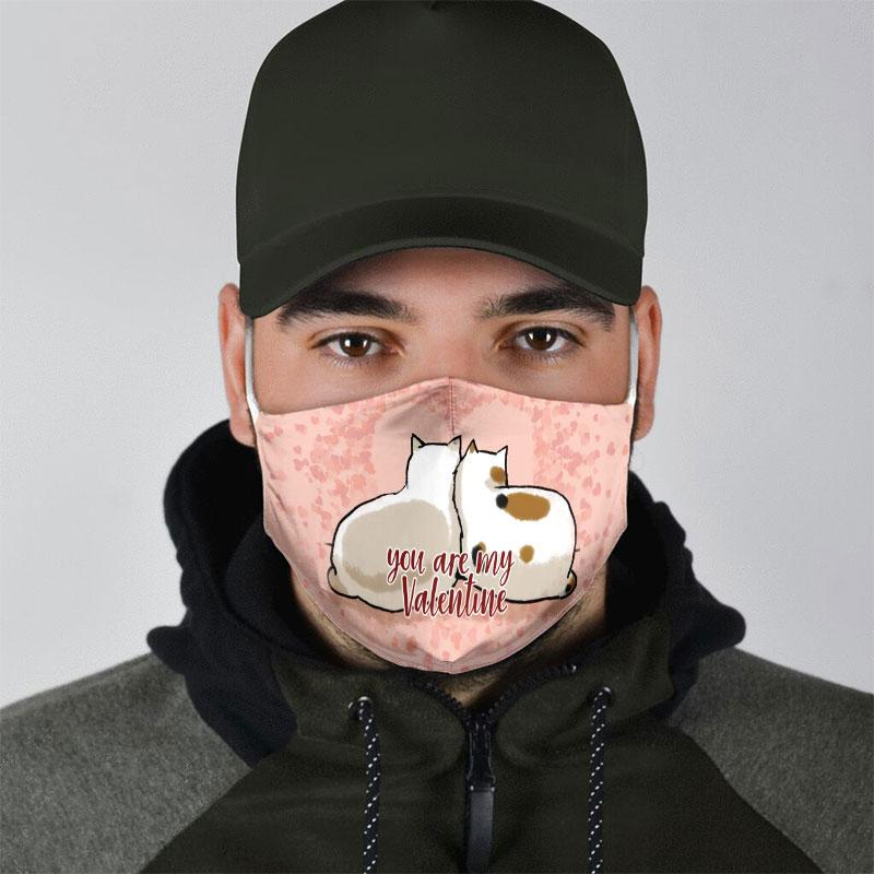you are my valentine couple cat all over print face mask 4