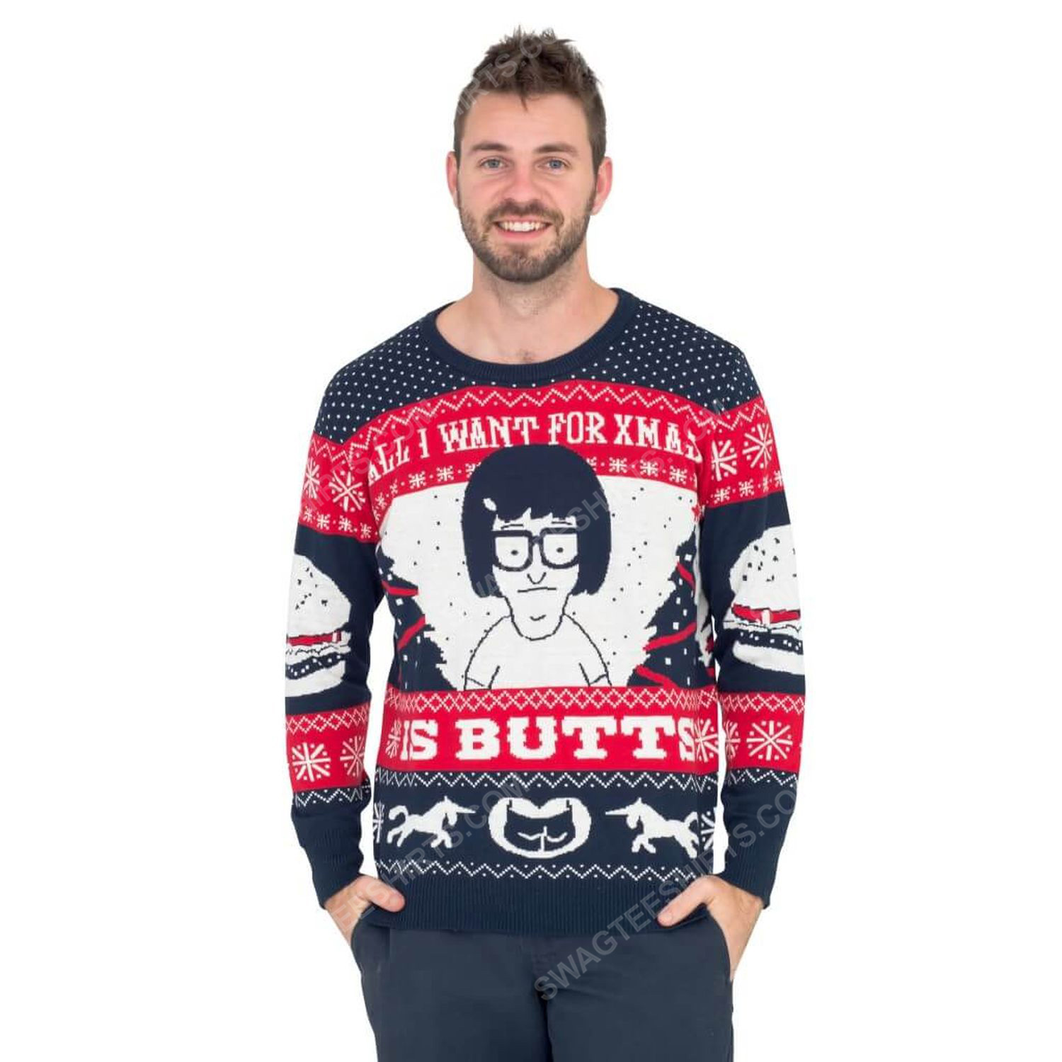 All i want for xmas is butts tina from bob's burgers ugly christmas sweater 2 - Copy