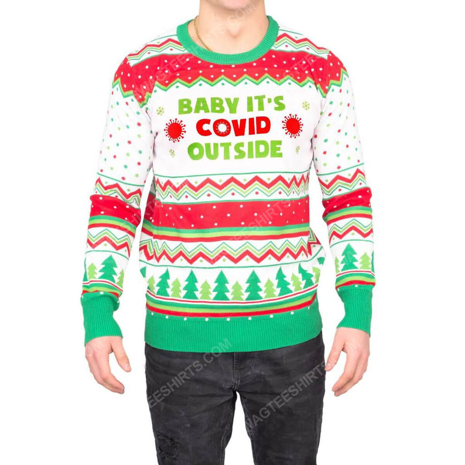 Baby it's covid outside full print ugly christmas sweater 2