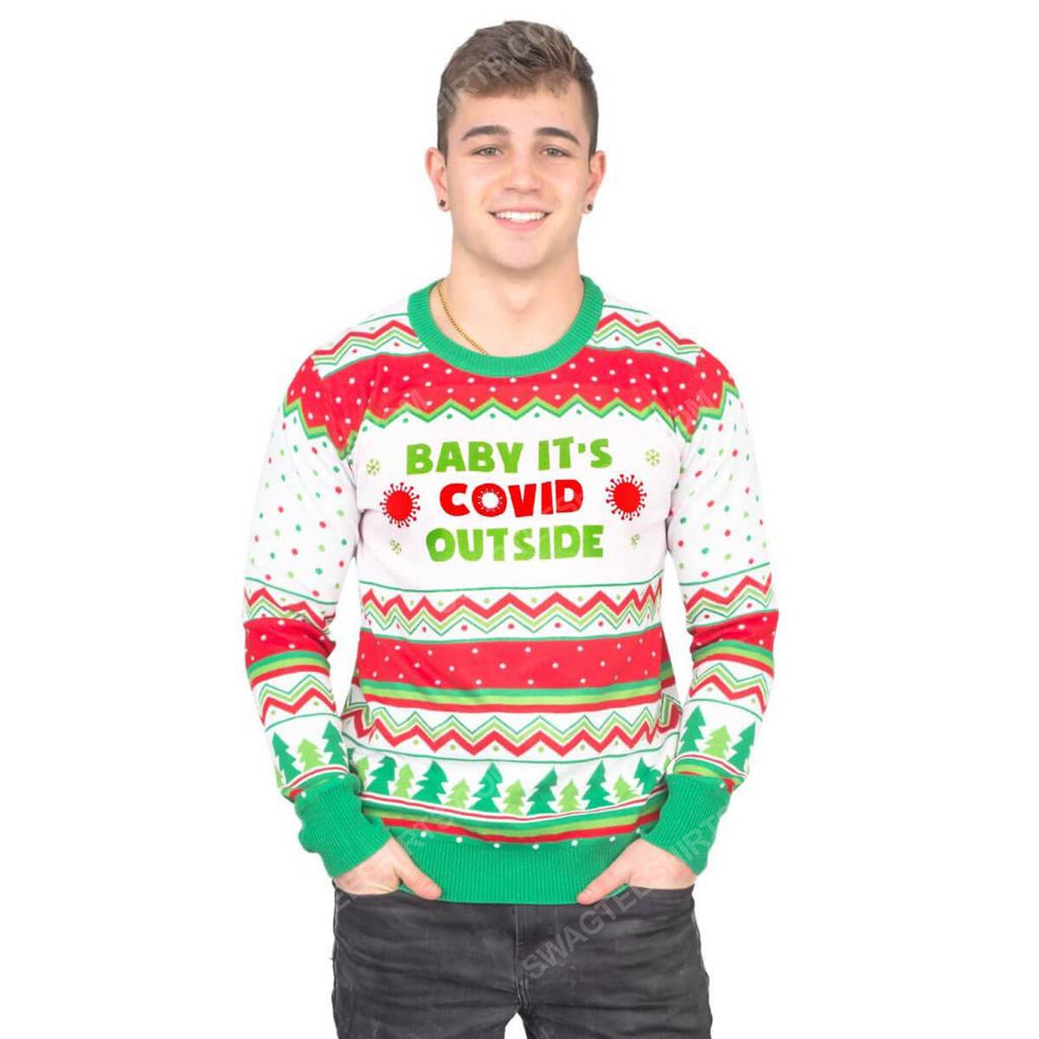 Baby it's covid outside full print ugly christmas sweater 3