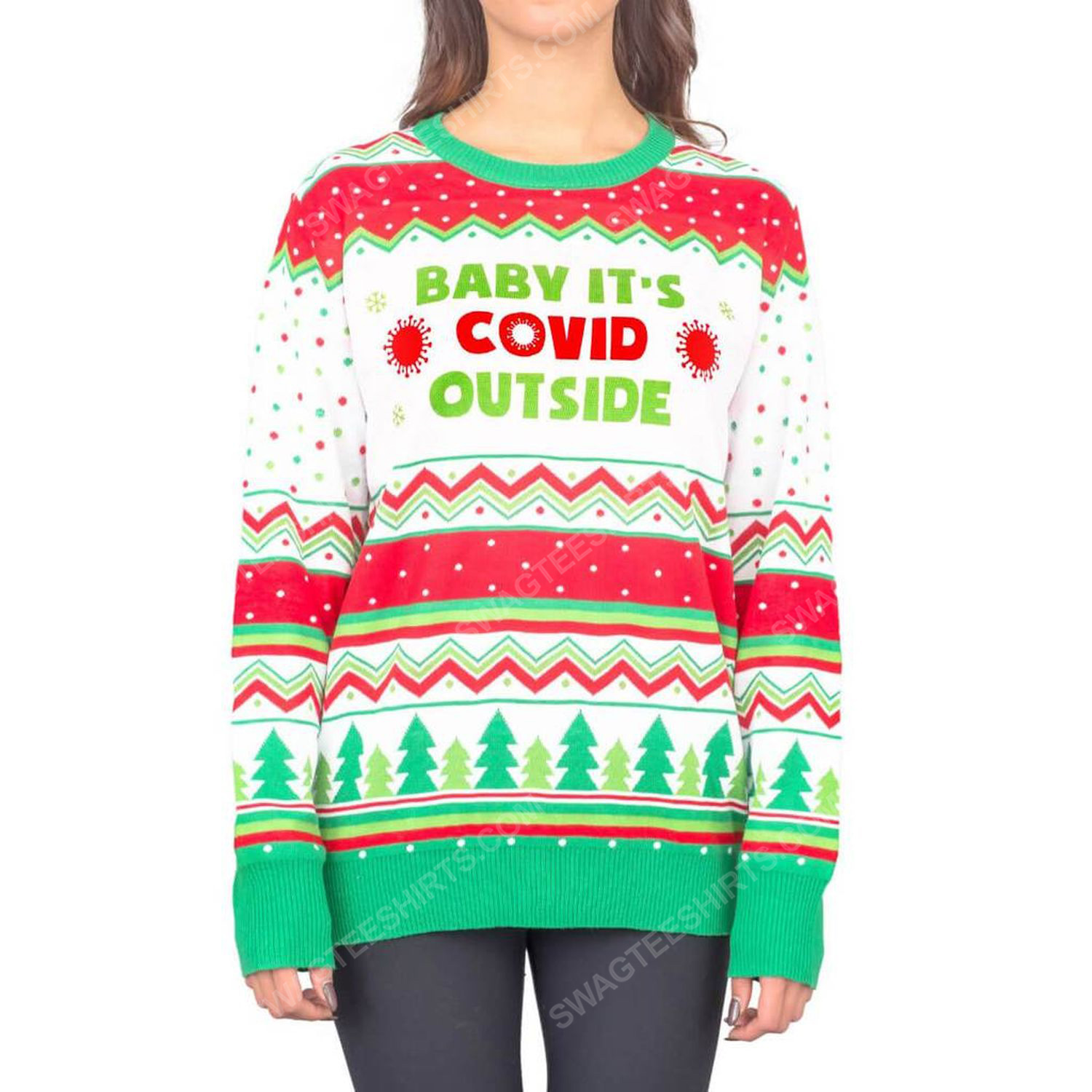 Baby it's covid outside full print ugly christmas sweater 4