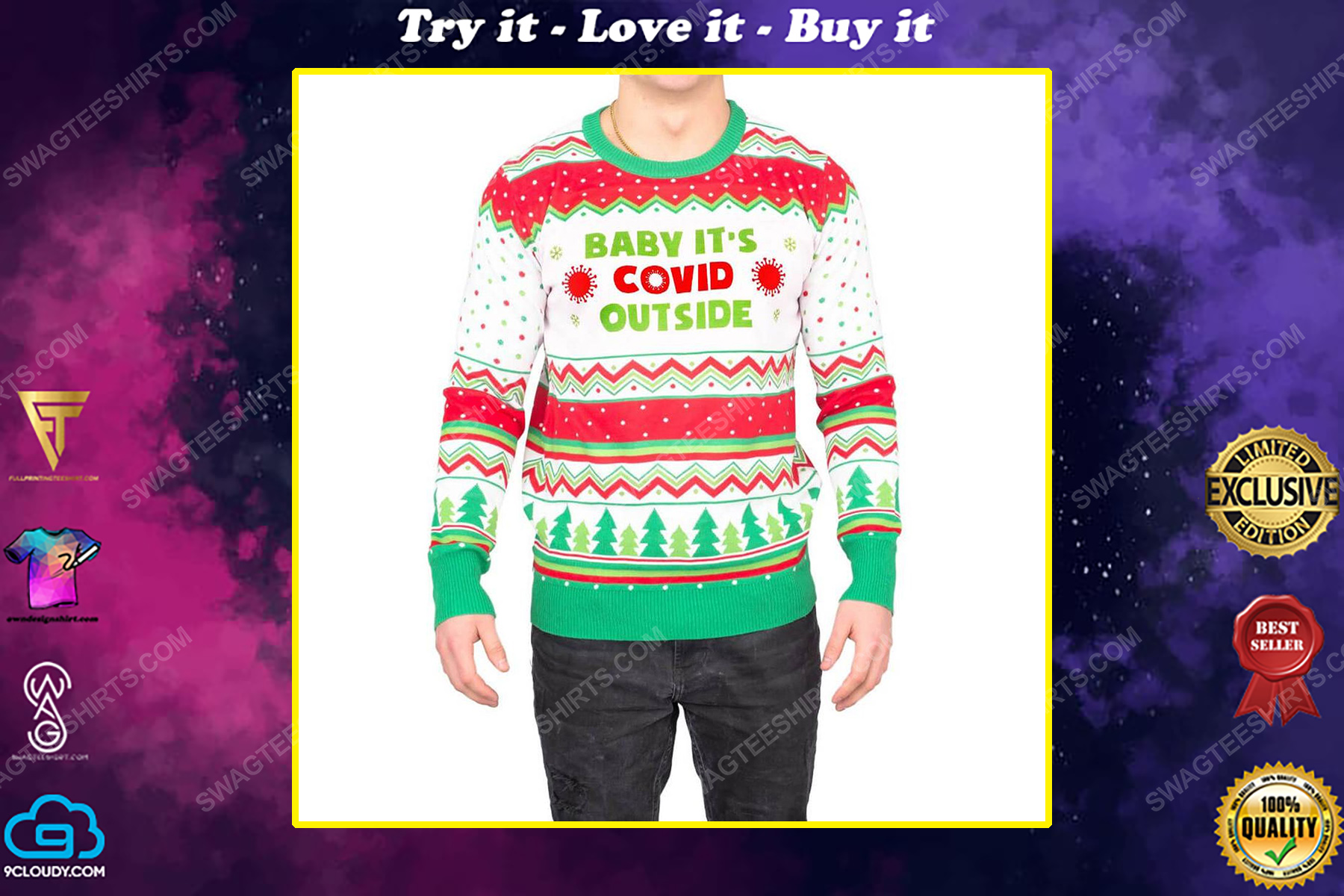 Baby it's covid outside full print ugly christmas sweater