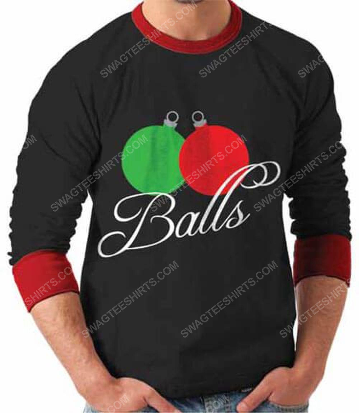 Balls lover full print ugly christmas sweater 2