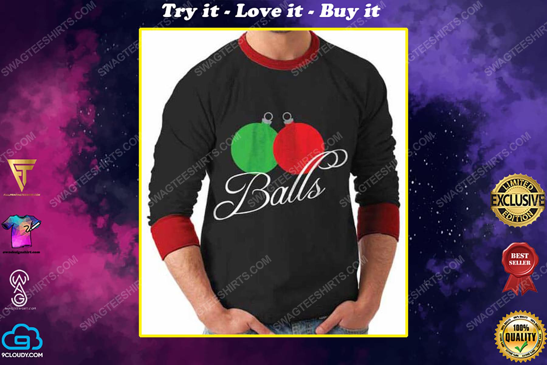 Balls lover full print ugly christmas sweater