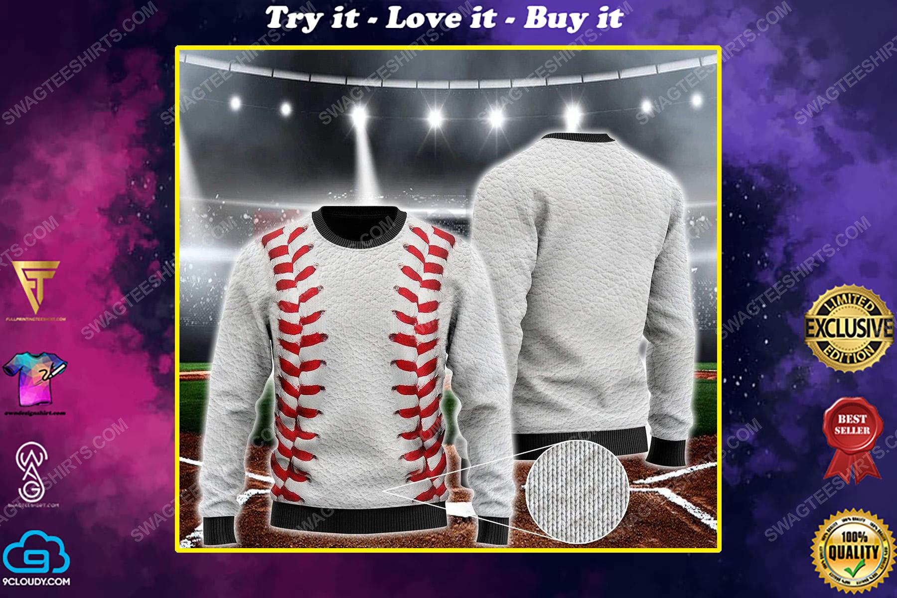 Baseball pattern all over print ugly christmas sweater