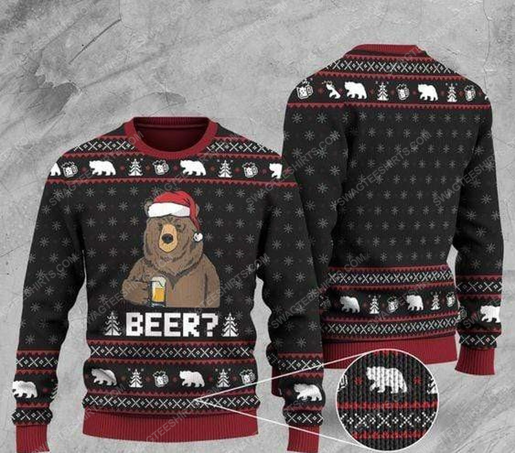 Bear with beer all over print ugly christmas sweater 1 - Copy - Copy