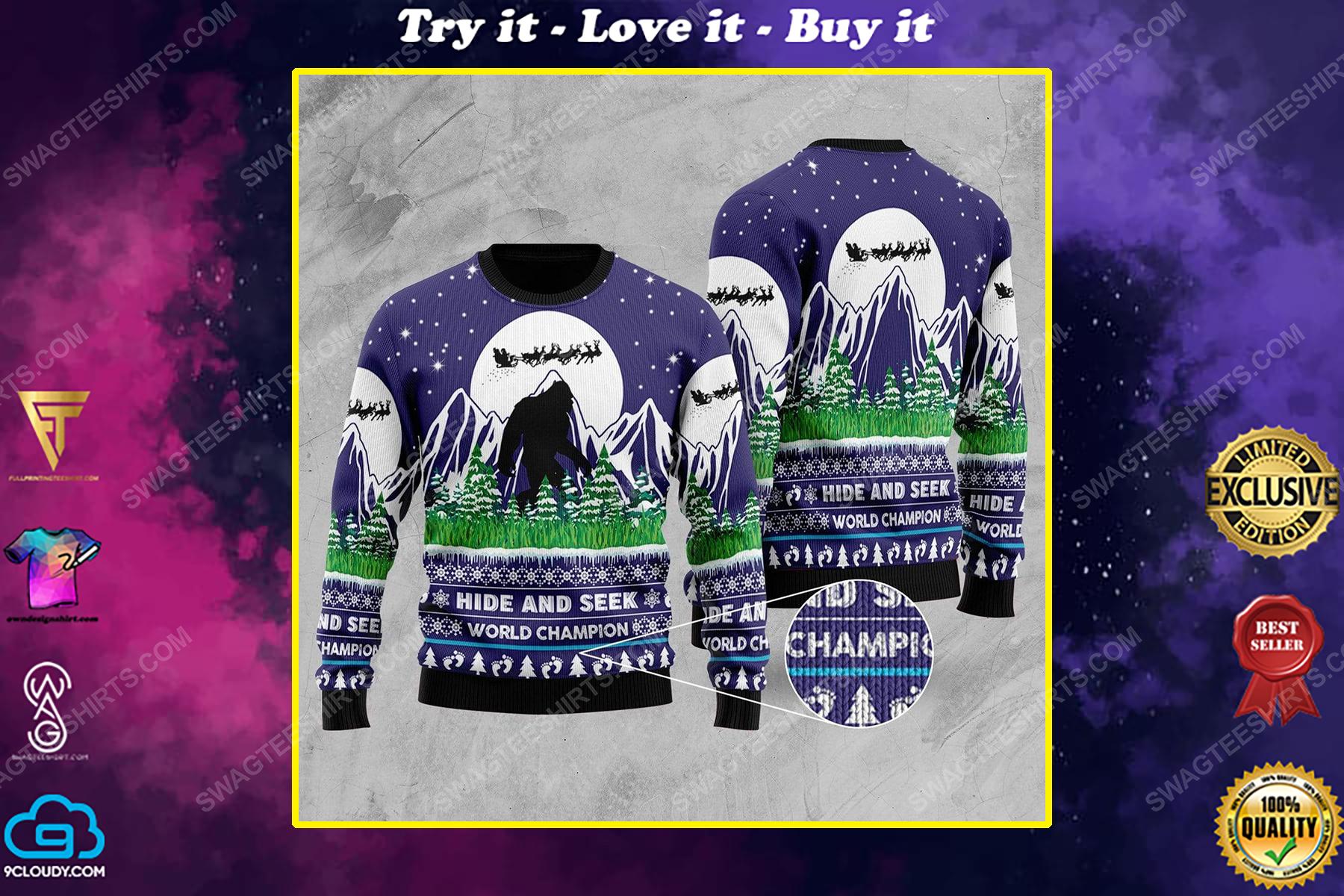 Bigfoot hide and seek world champion ugly christmas sweater