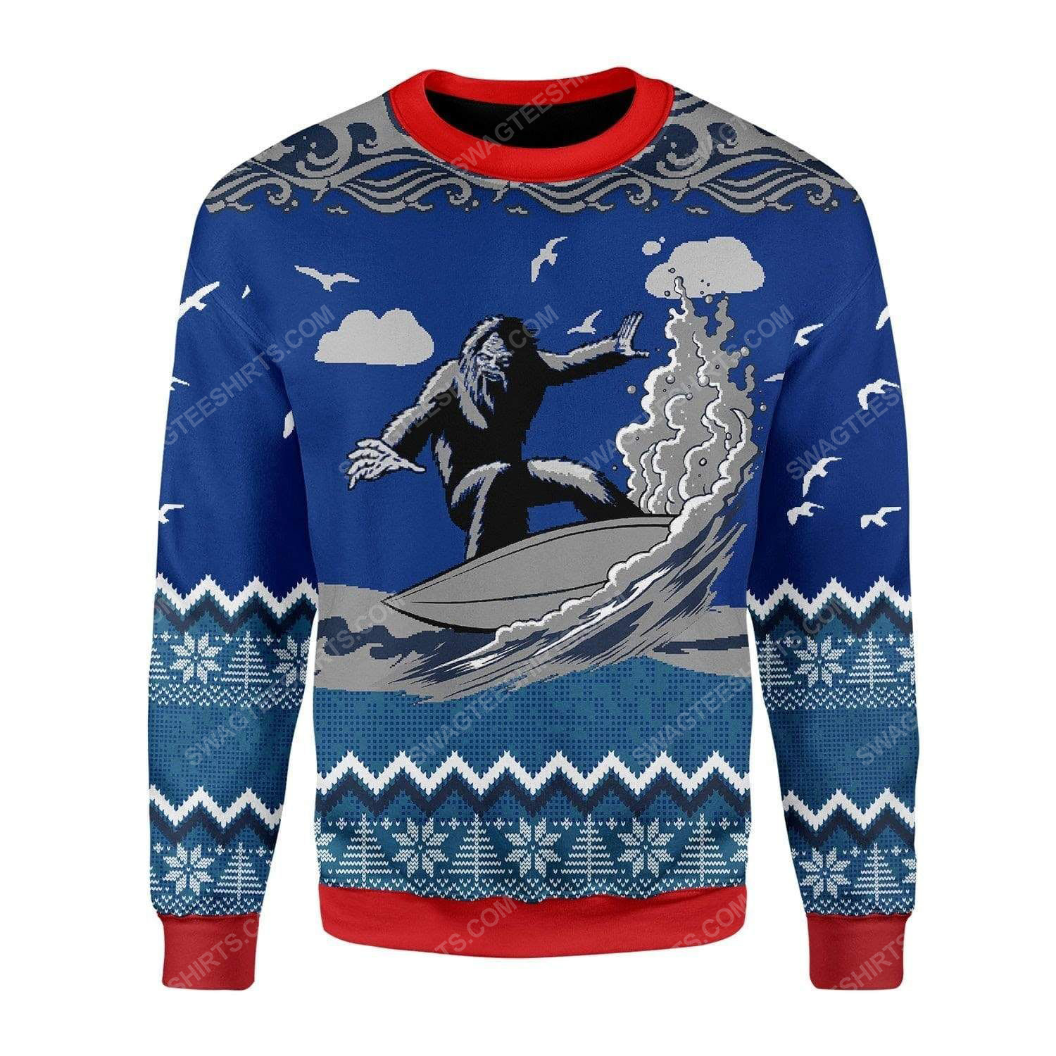 Bigfoot surfing all over print ugly christmas sweater 2 - Copy