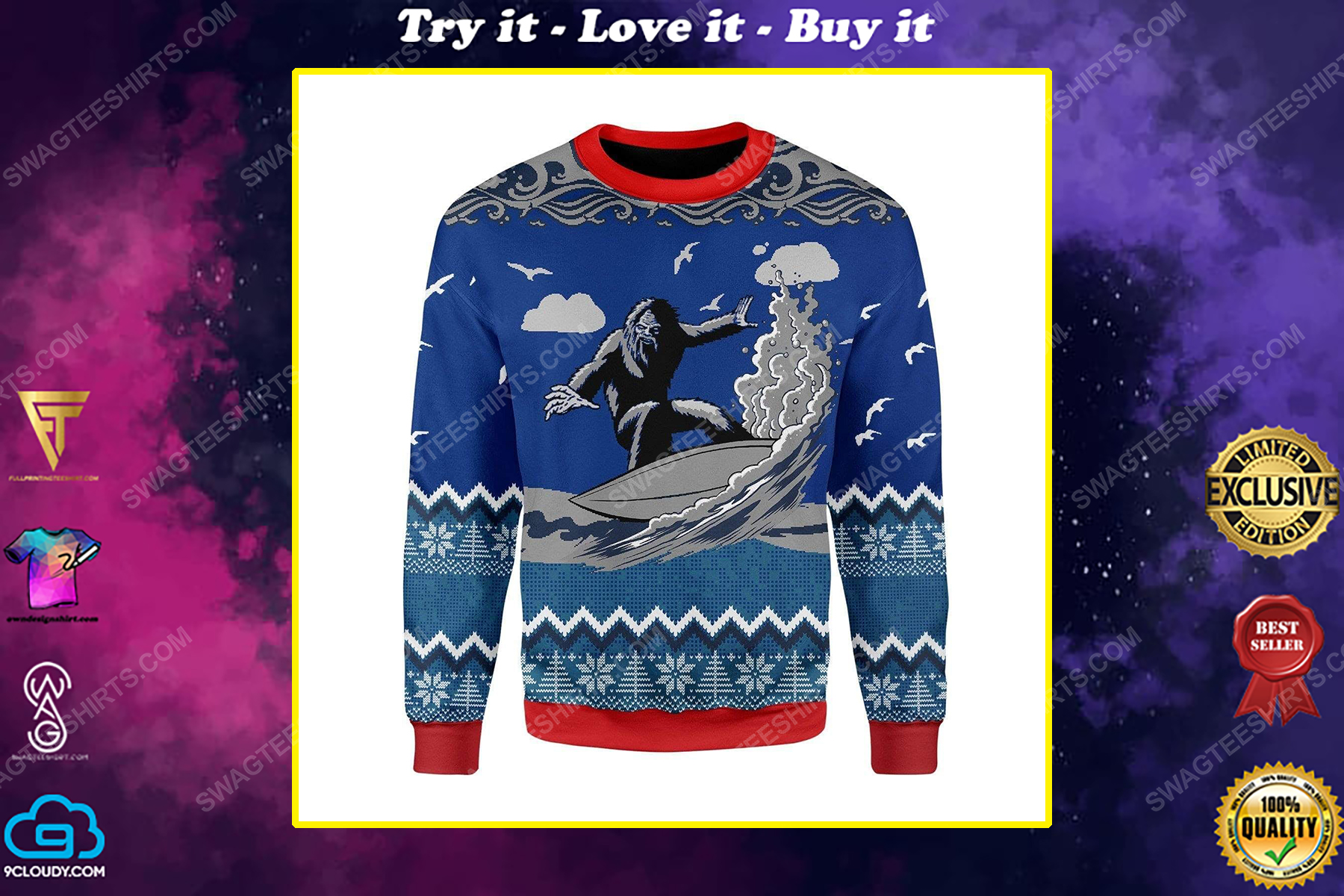 Bigfoot surfing all over print ugly christmas sweater