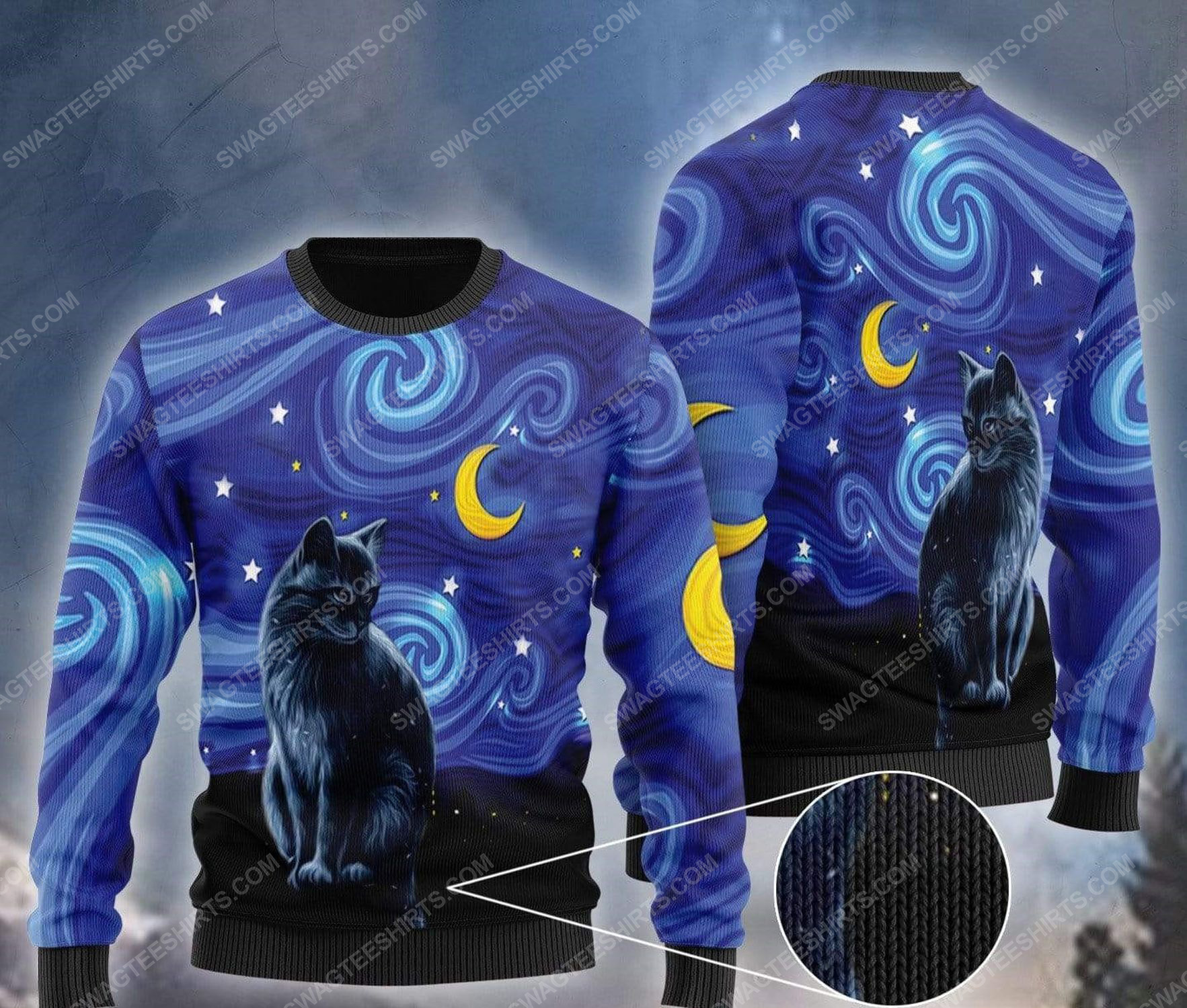 Black cat vincent van gogh starry night ugly christmas sweater 1 - Copy - Copy