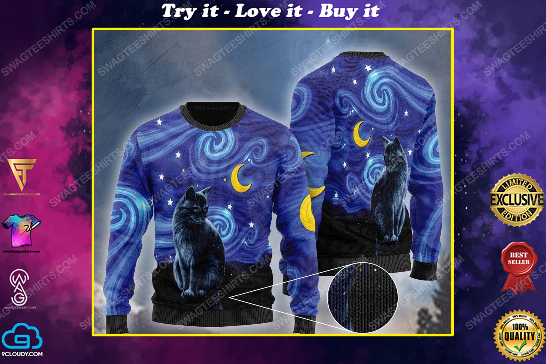 Black cat vincent van gogh starry night ugly christmas sweater