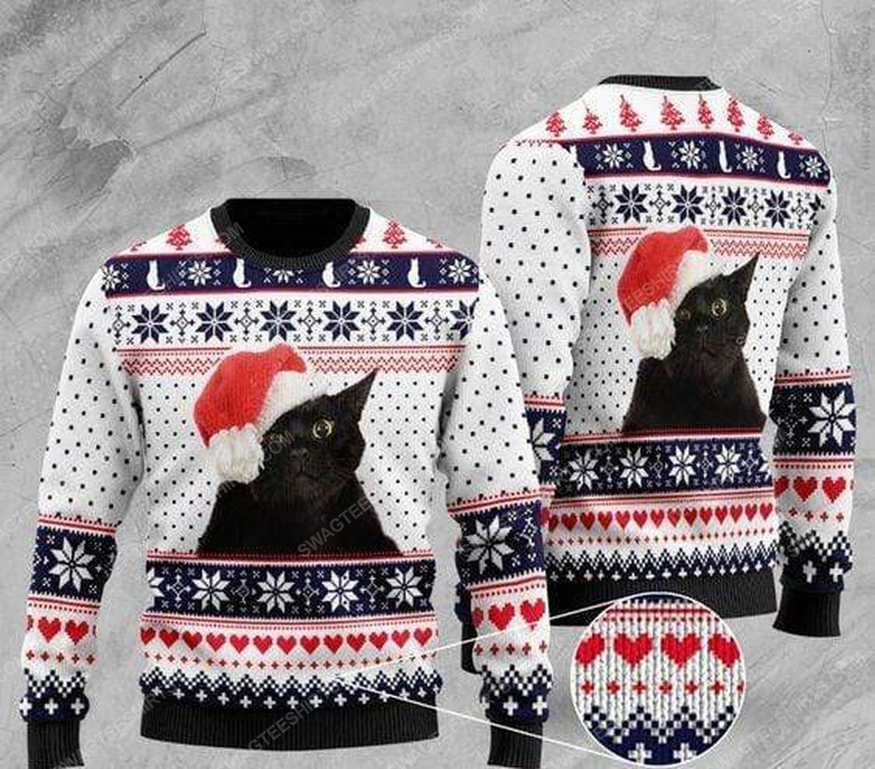 Black cat with santa hat all over print ugly christmas sweater 1 - Copy - Copy
