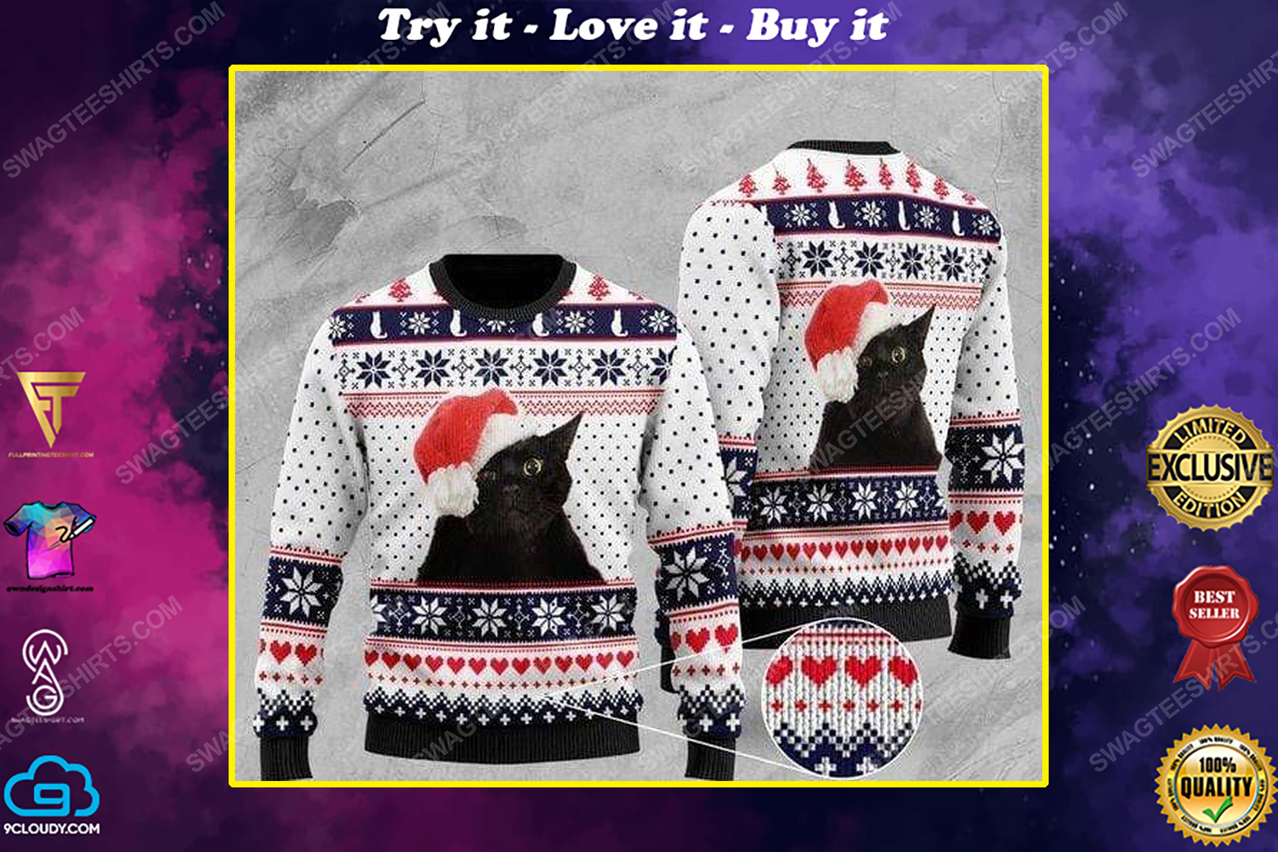 Black cat with santa hat all over print ugly christmas sweater
