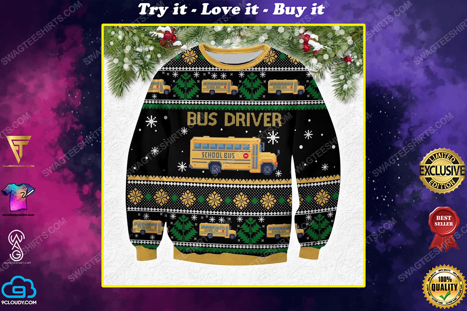 Bus driver all over print ugly christmas sweater