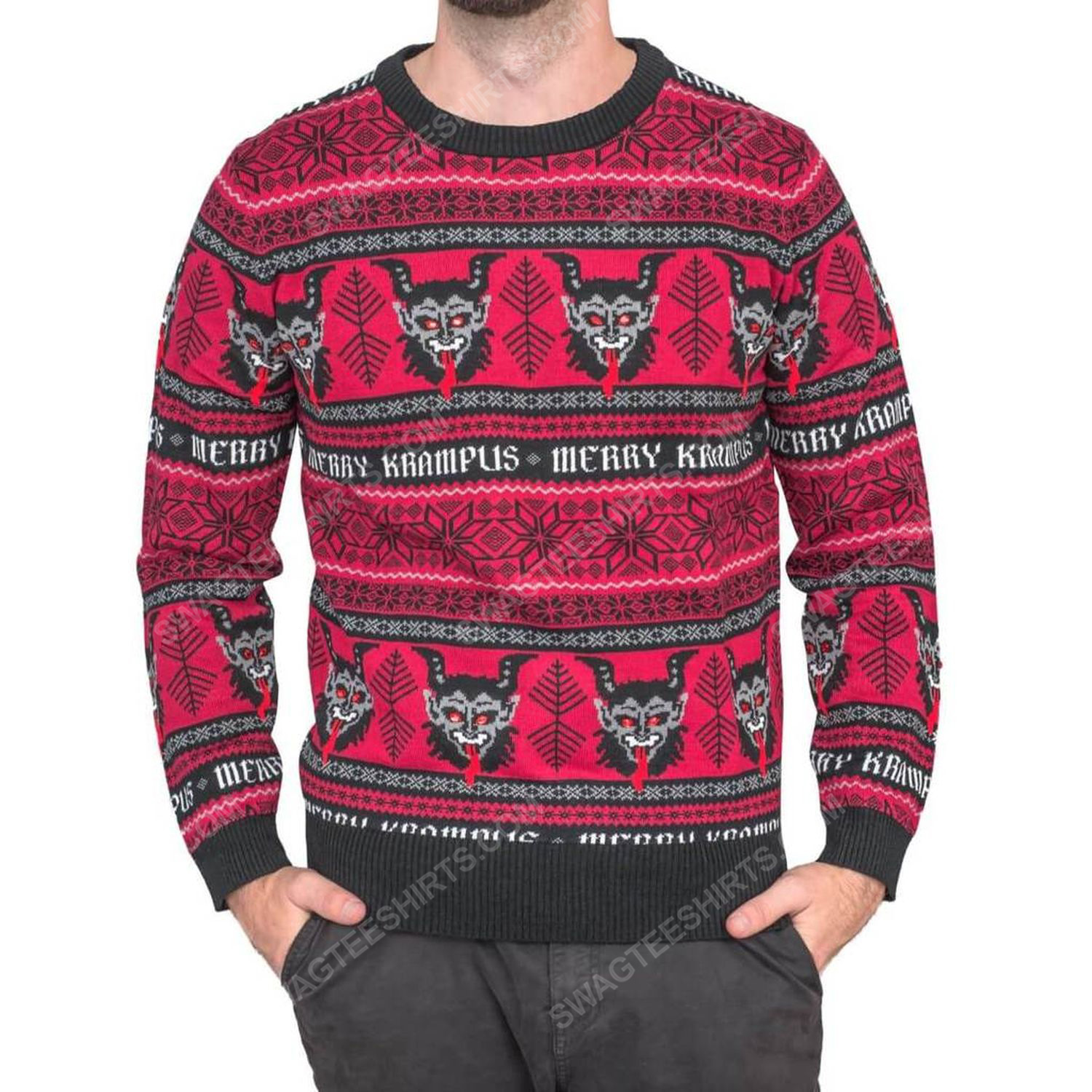 Christmas time merry krampus full print ugly christmas sweater 3