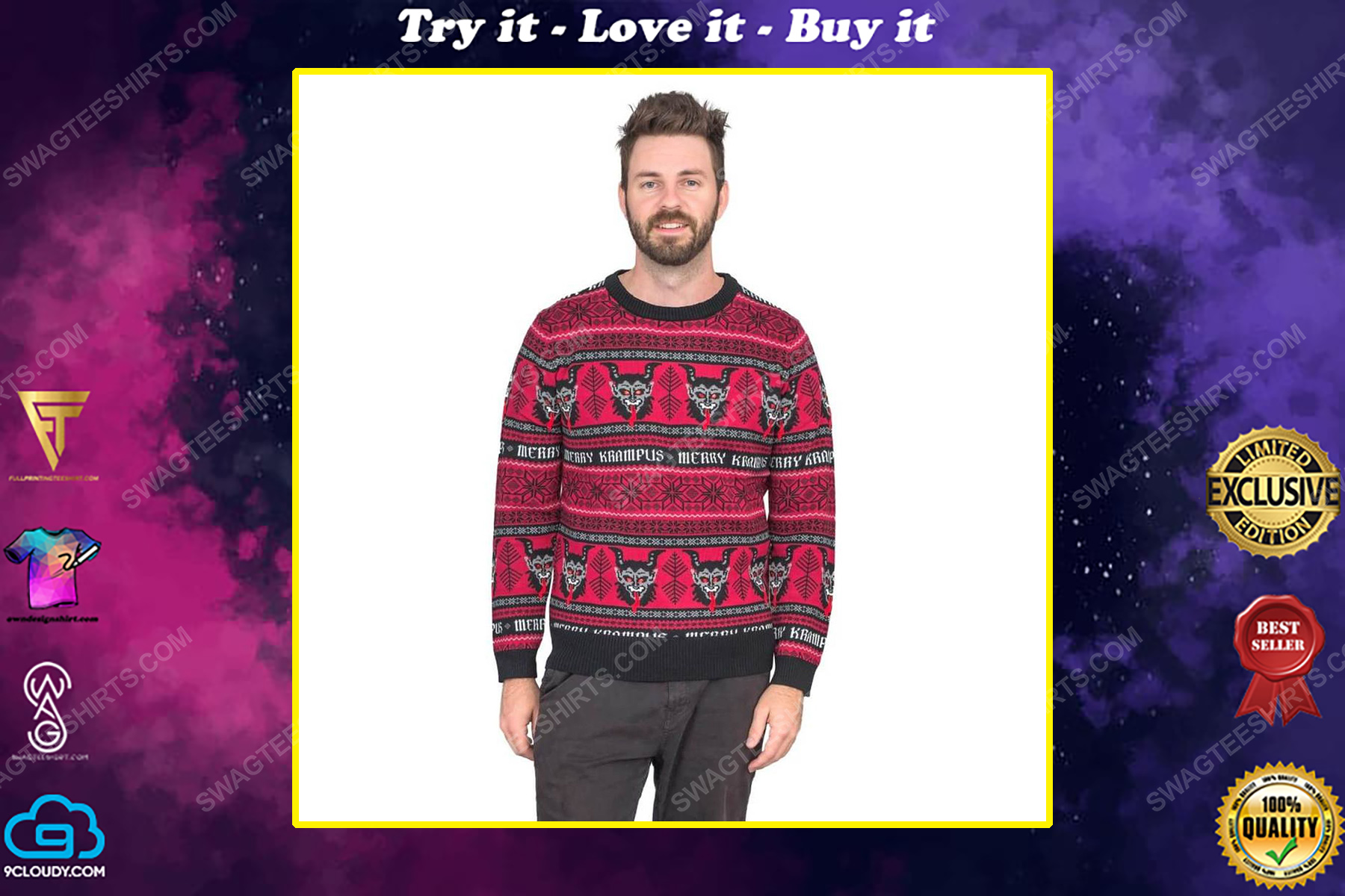 Christmas time merry krampus full print ugly christmas sweater