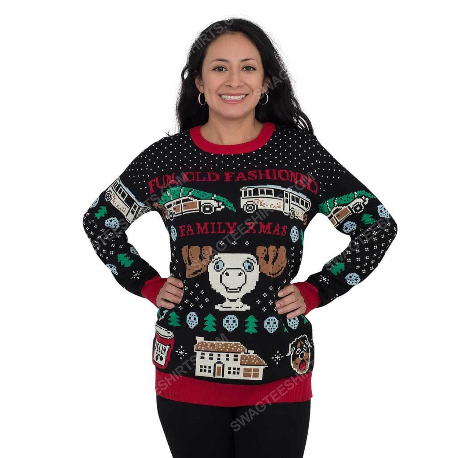 Christmas vacation fun old-fashioned family full print ugly christmas sweater 2