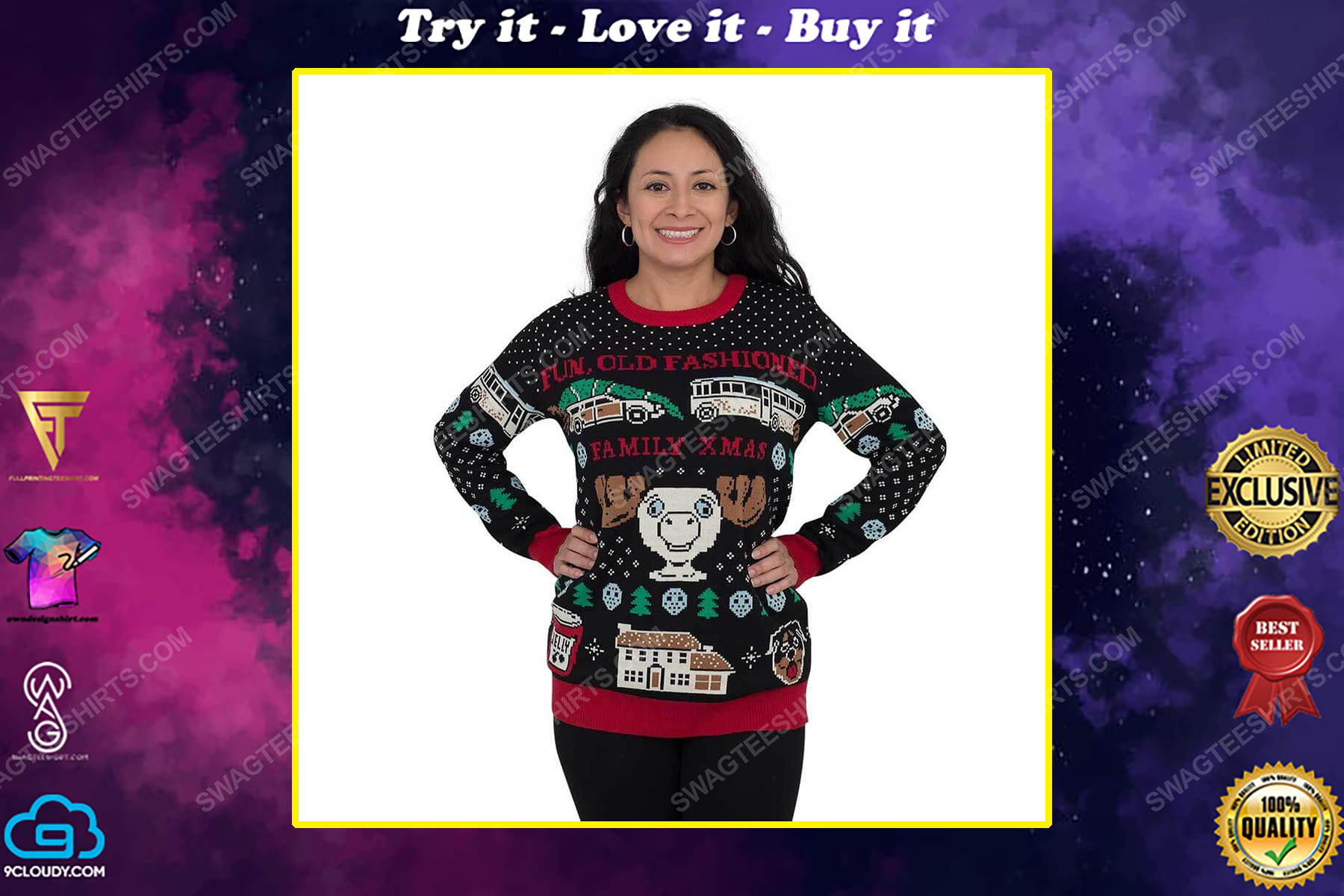 Christmas vacation fun old-fashioned family full print ugly christmas sweater