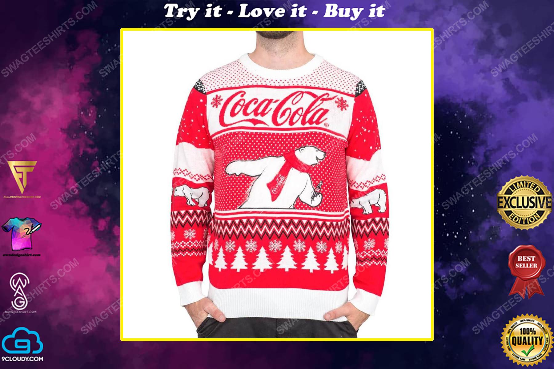 Coca-cola polar bear coke full print ugly christmas sweater