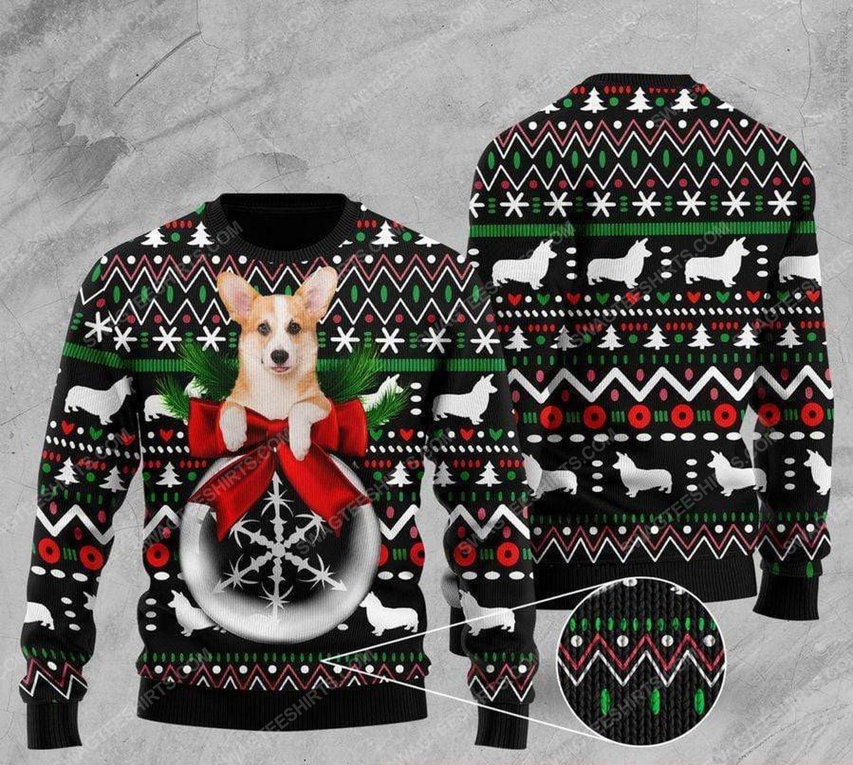 Corgi and wreath all over print ugly christmas sweater 1 - Copy - Copy