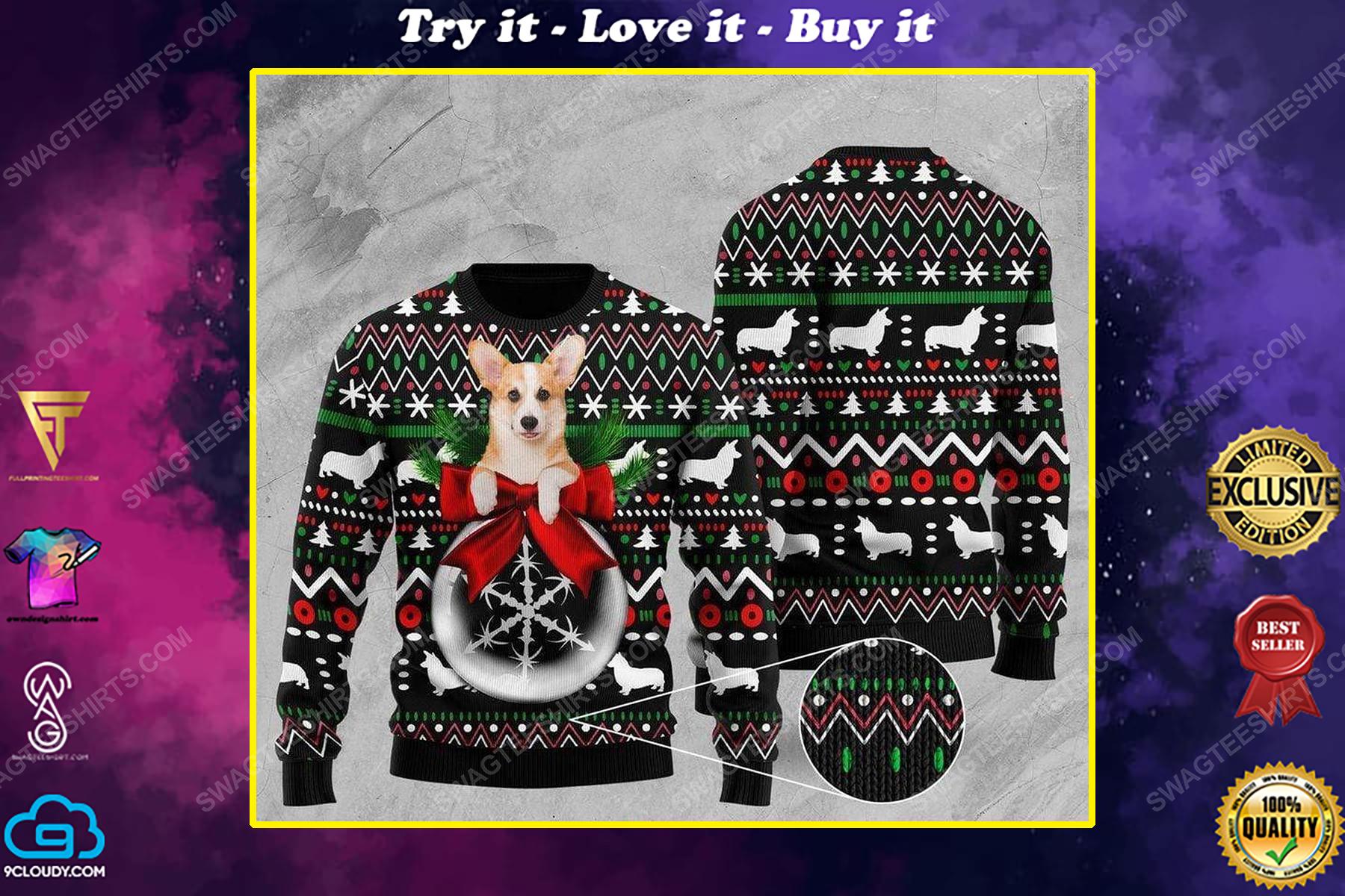 Corgi and wreath all over print ugly christmas sweater