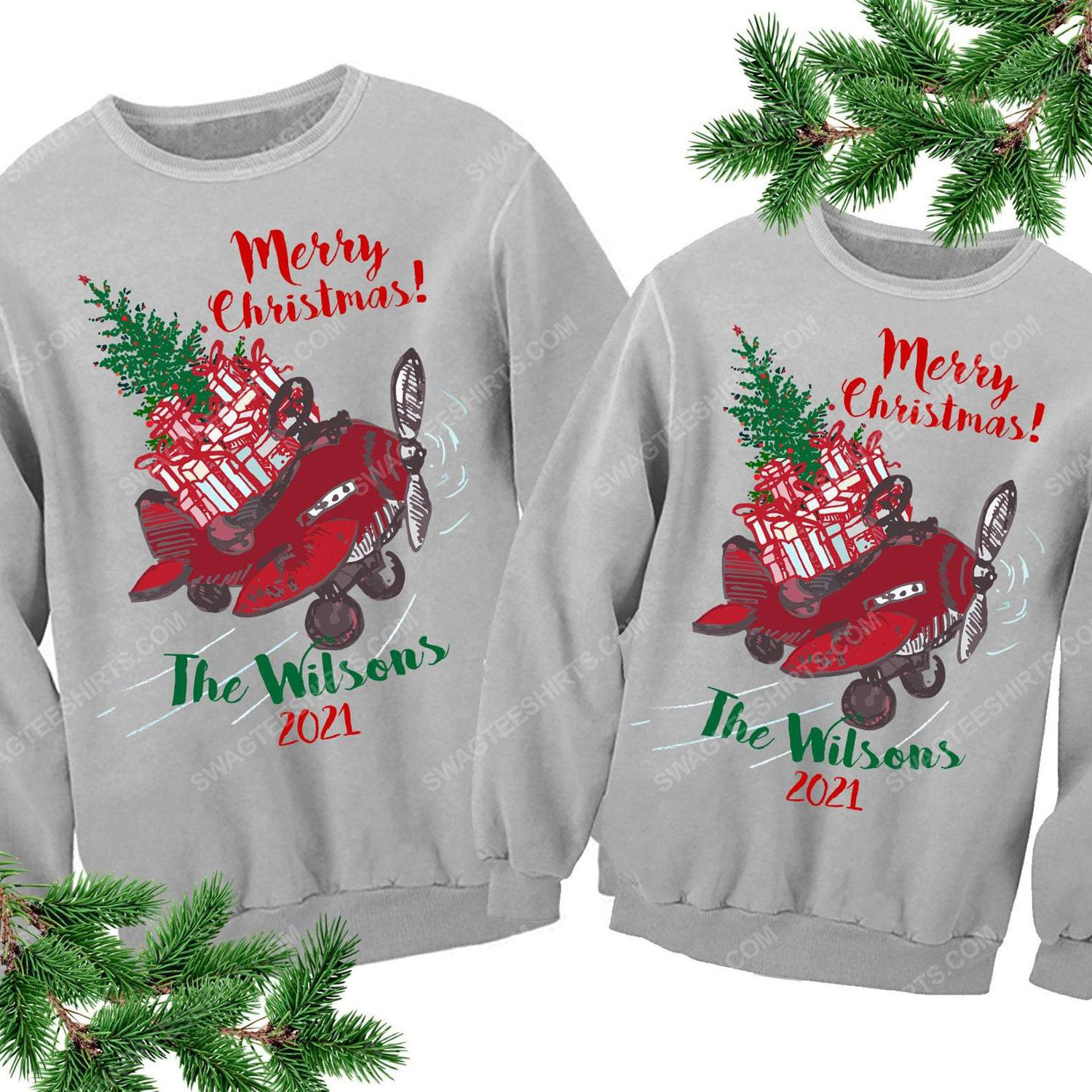 Custom for family airplane and merry christmas ugly christmas sweater 2 - Copy