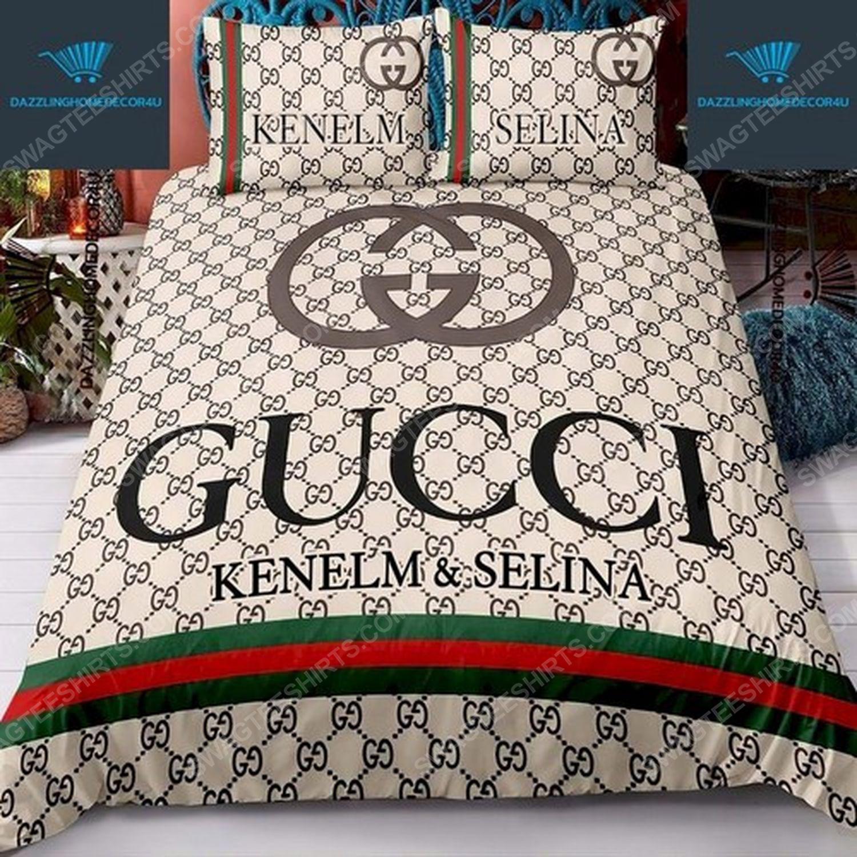 Custom name gucci full print duvet cover bedding set 3