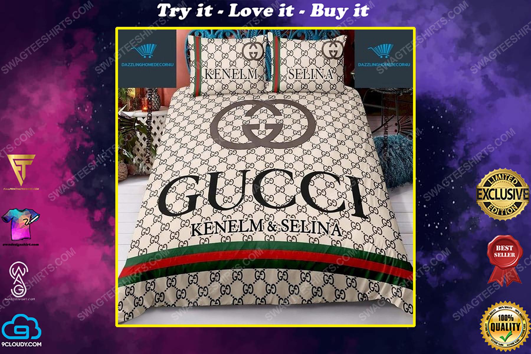 Custom name gucci full print duvet cover bedding set