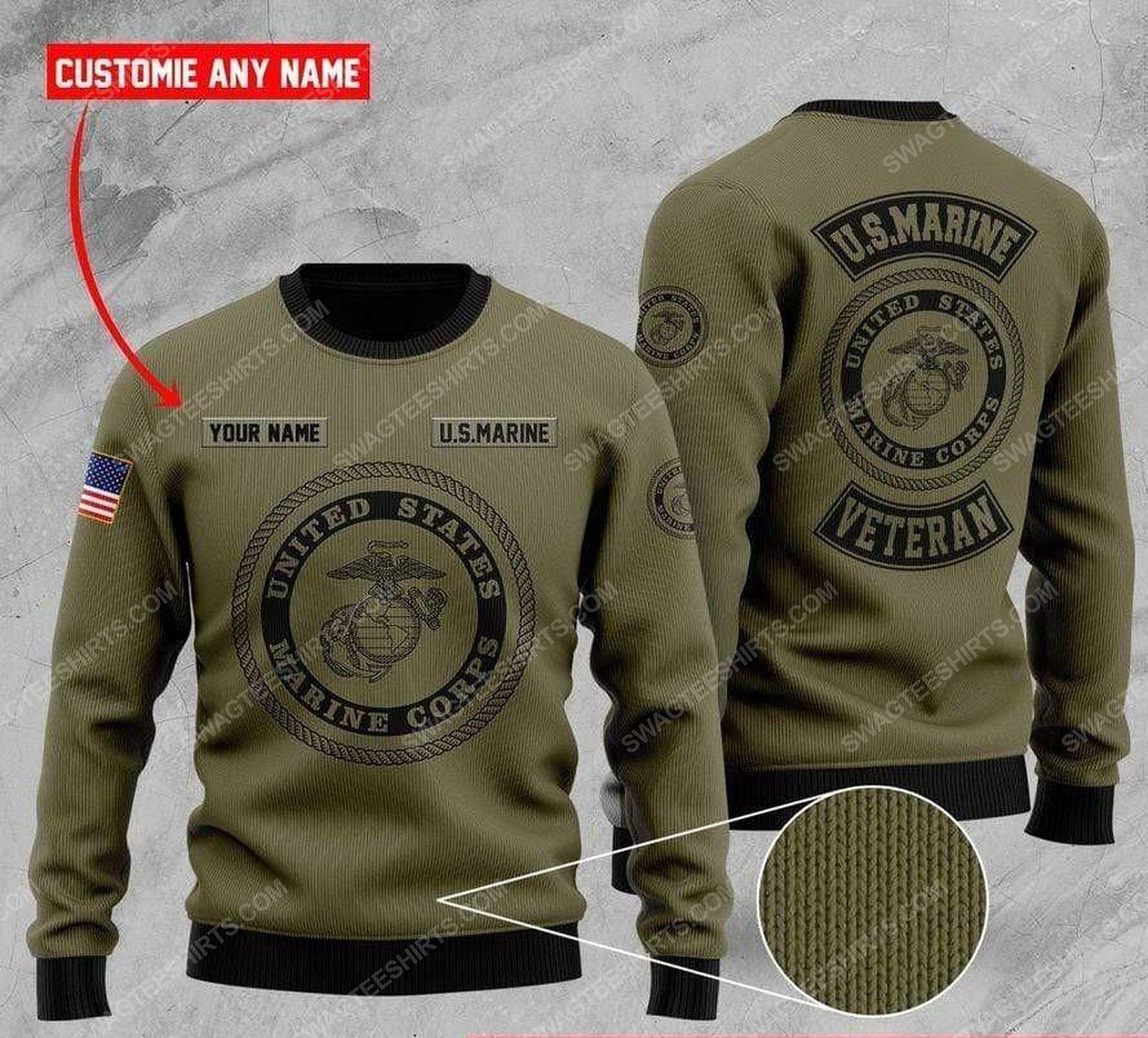 Custom us marine veteran all over print ugly christmas sweater 2 - Copy