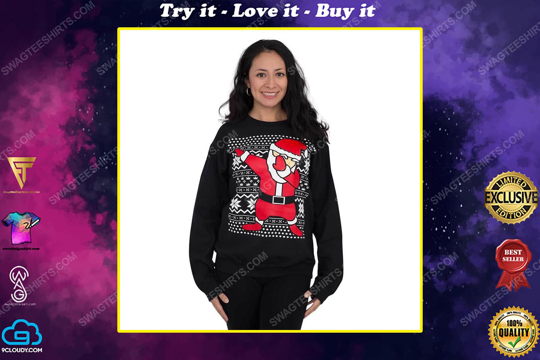Dabbing santa claus full print ugly christmas sweater