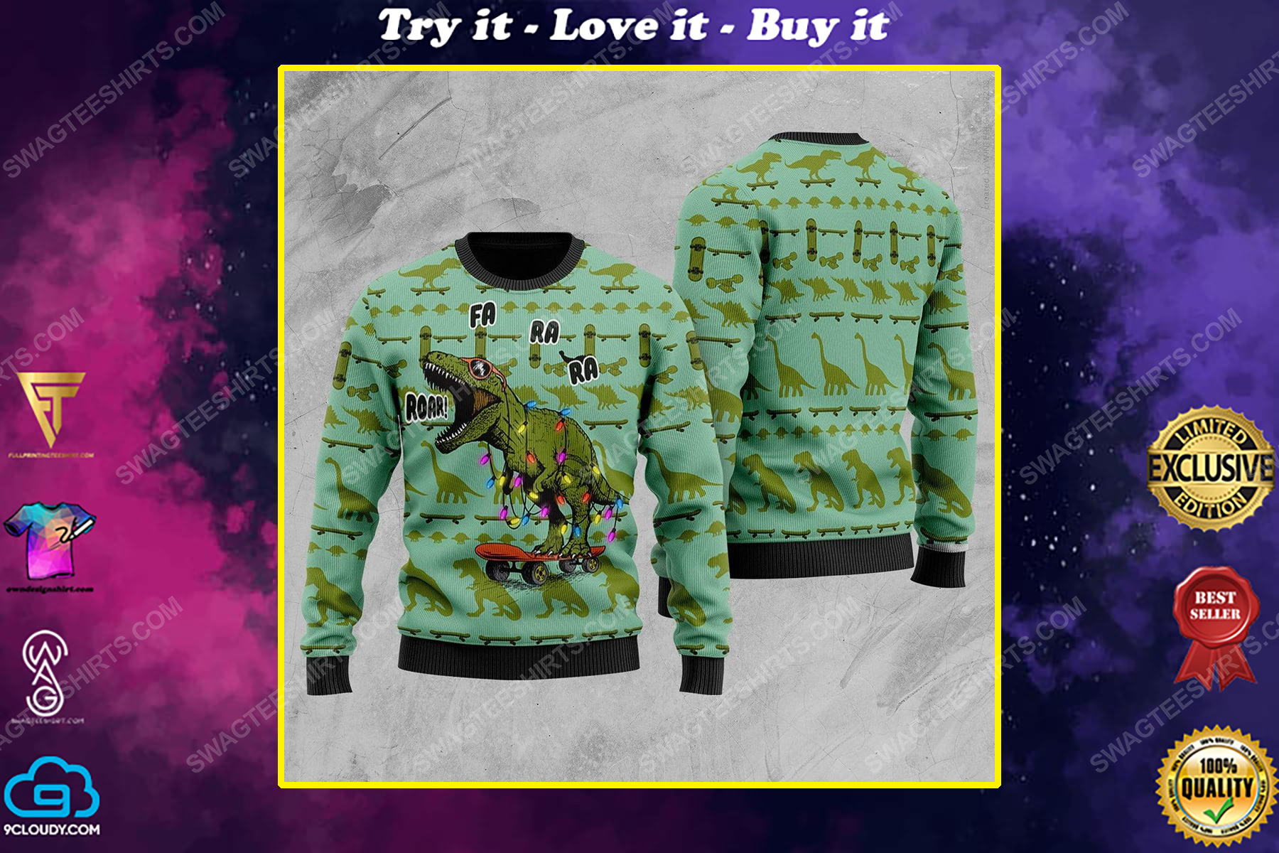 Dinosaurs roar all over print ugly christmas sweater