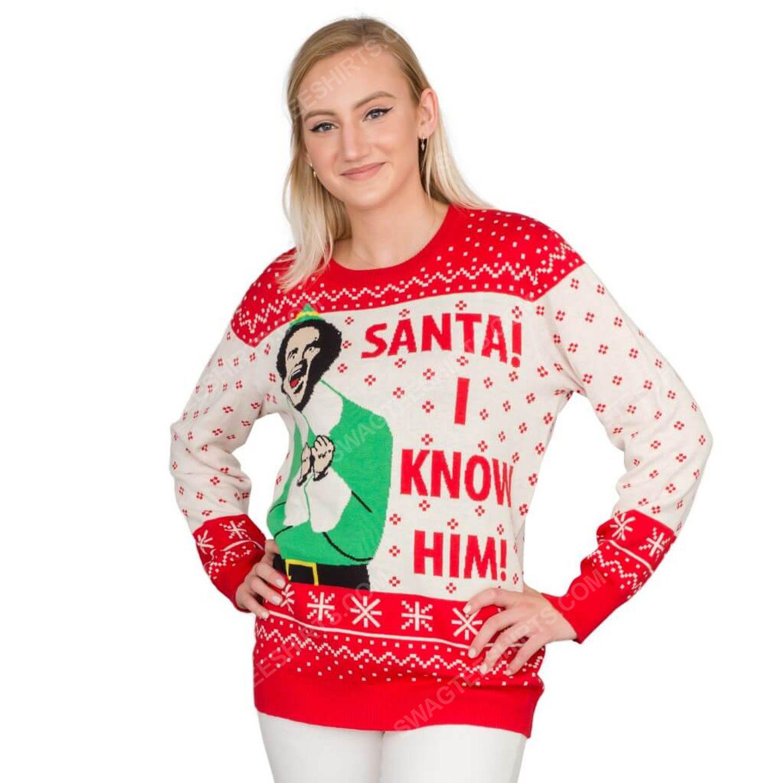 Elf buddy santa i know him full print ugly christmas sweater 2