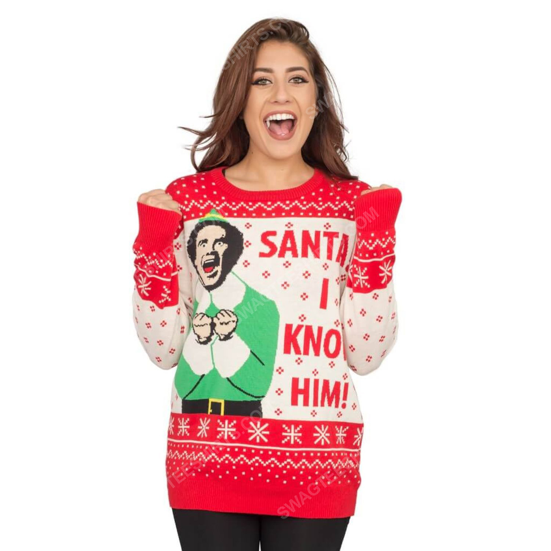 Elf buddy santa i know him full print ugly christmas sweater 3