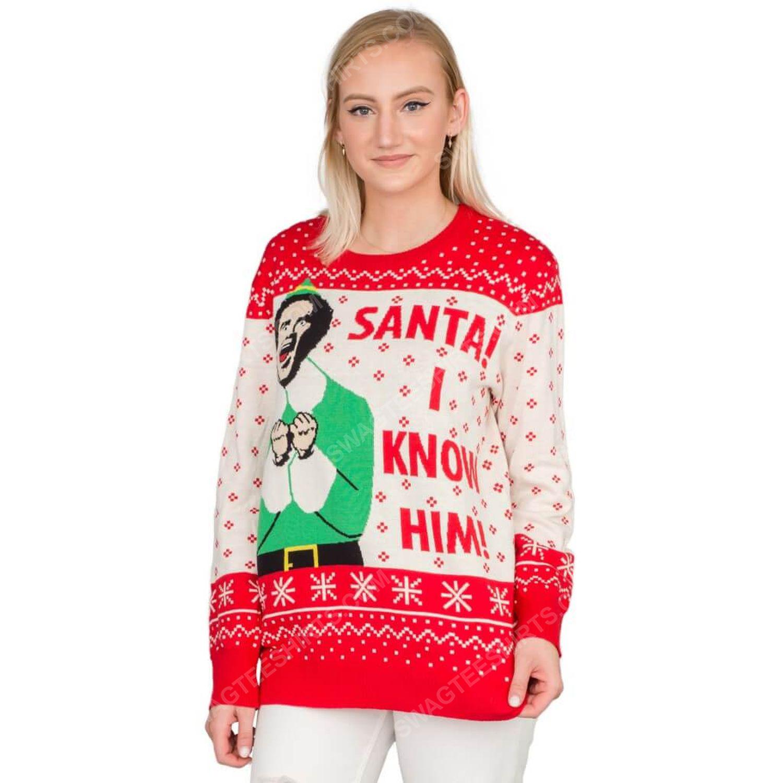 Elf buddy santa i know him full print ugly christmas sweater 4