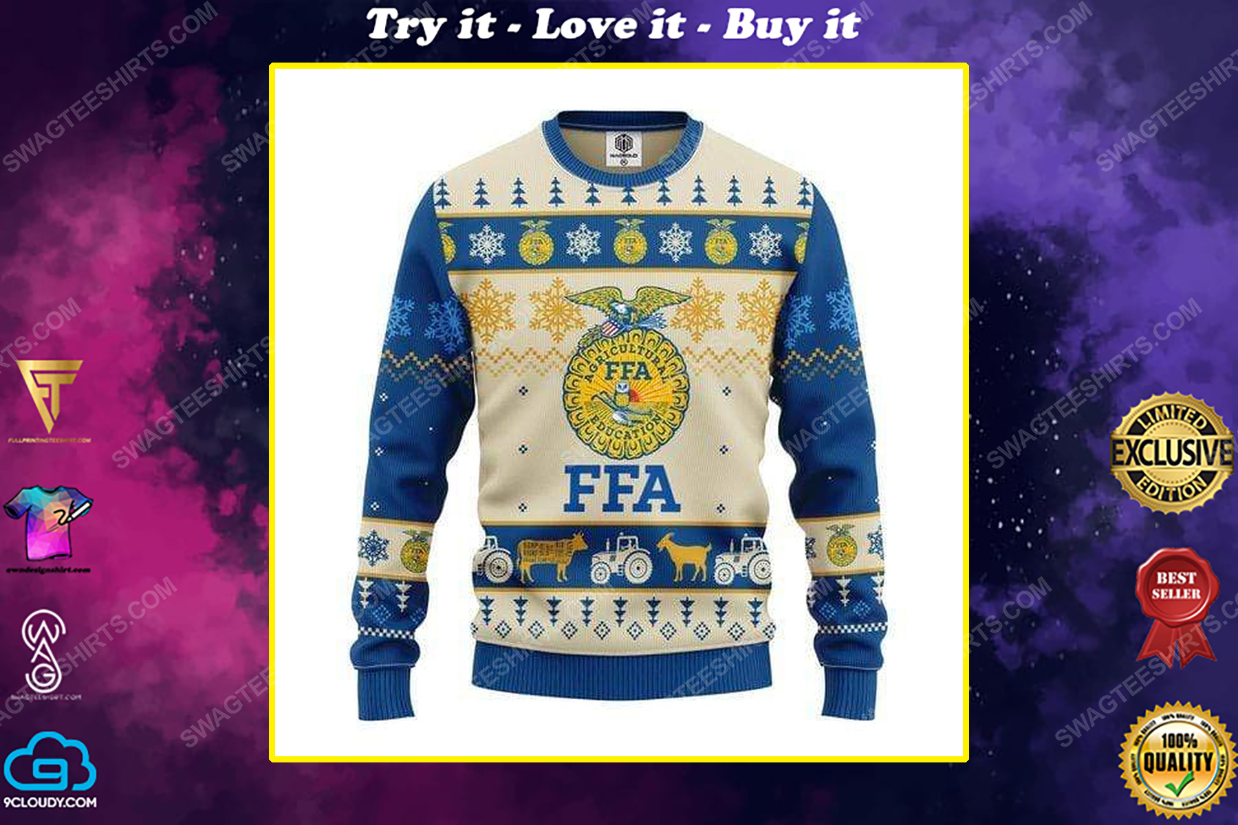 FFA farmers all over print ugly christmas sweater