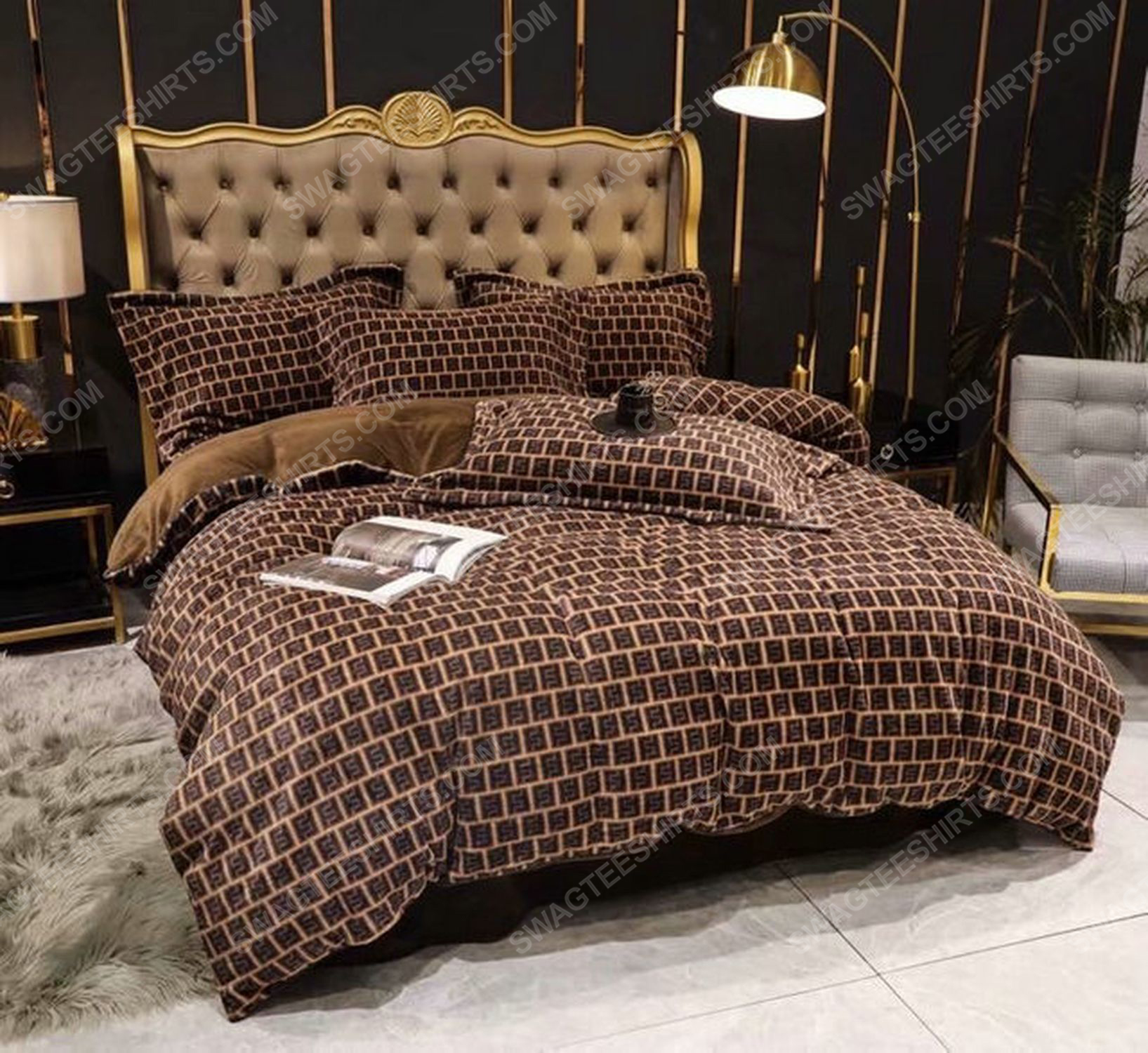 Fendi monogram symbols full print duvet cover bedding set 3 - Copy