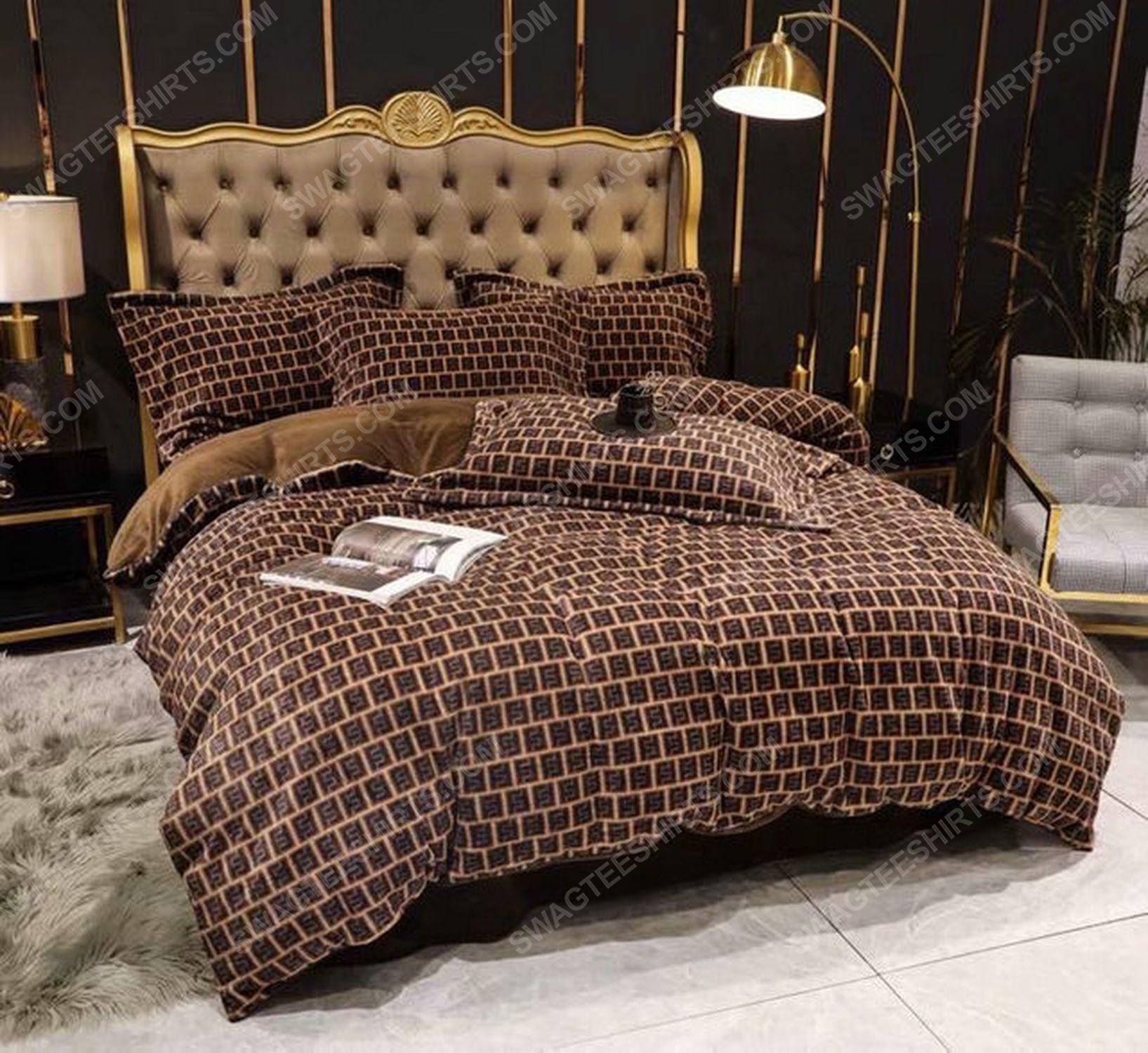Fendi monogram symbols full print duvet cover bedding set 3