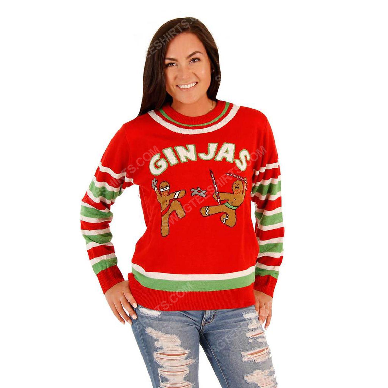 Fighting ginjas gingerbread ninjas full print ugly christmas sweater 2
