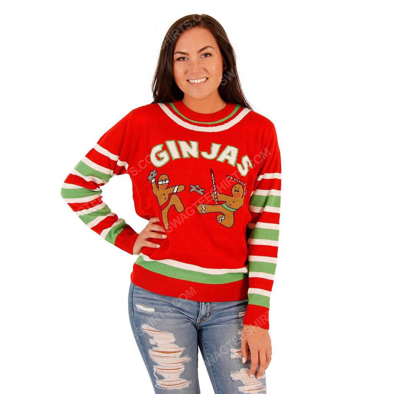 Fighting ginjas gingerbread ninjas full print ugly christmas sweater 3
