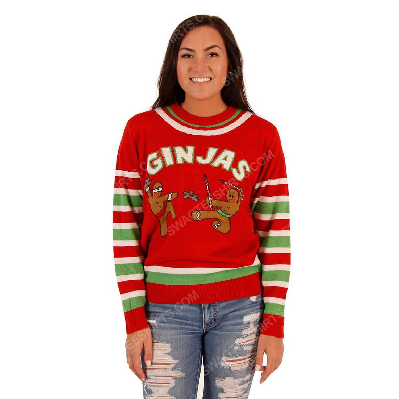 Fighting ginjas gingerbread ninjas full print ugly christmas sweater 4