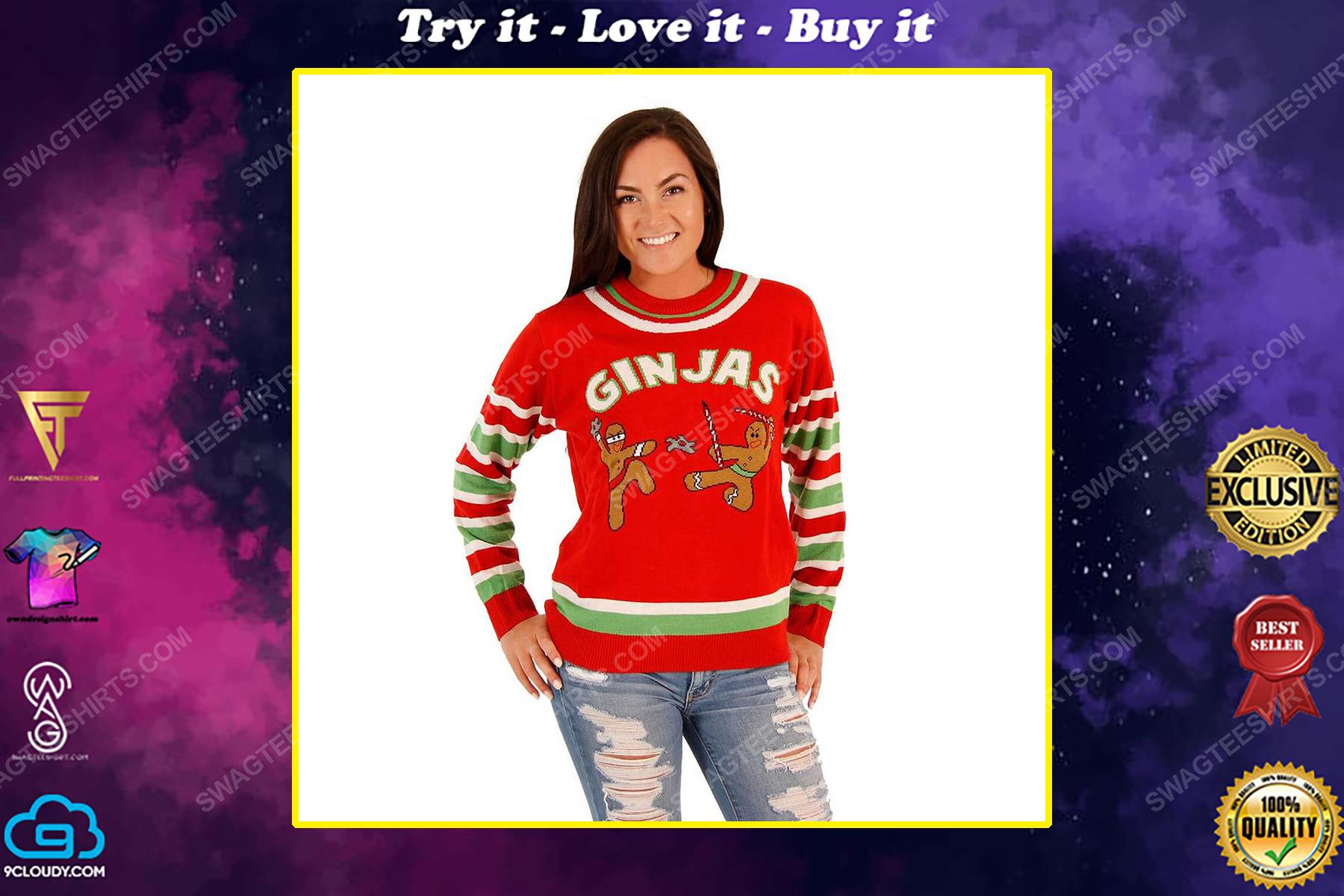 Fighting ginjas gingerbread ninjas full print ugly christmas sweater
