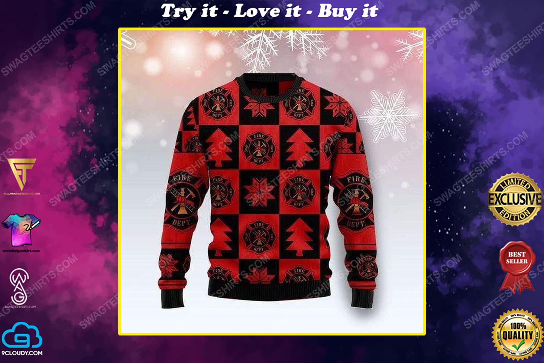 Firefighter pattern all over print ugly christmas sweater
