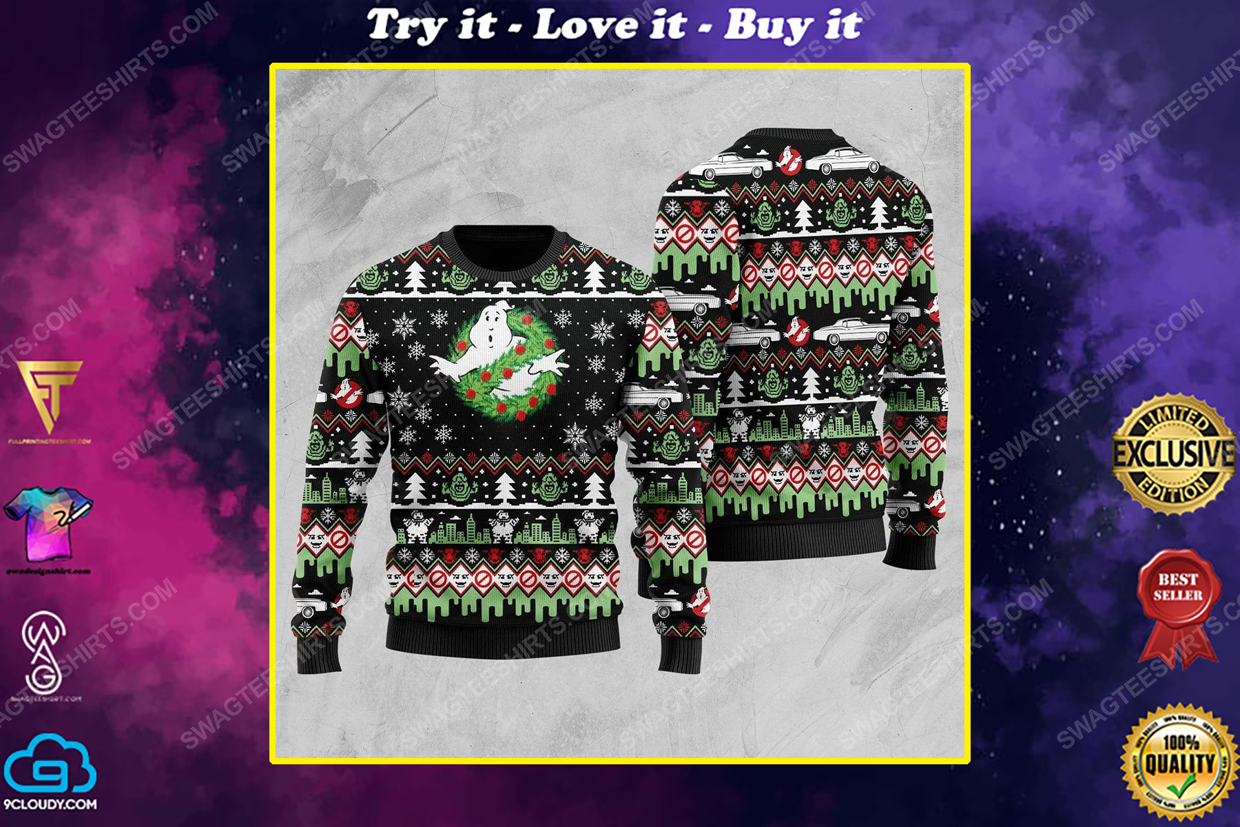 Ghostbusters movie all over print ugly christmas sweater